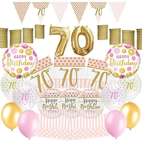 PartyParty Pink Chic Women Happy 70th Birthday Decoration Ultimate Party Pack