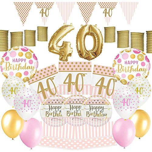 PartyParty Pink Chic Women Happy 40th Birthday Decoration Ultimate Party Pack