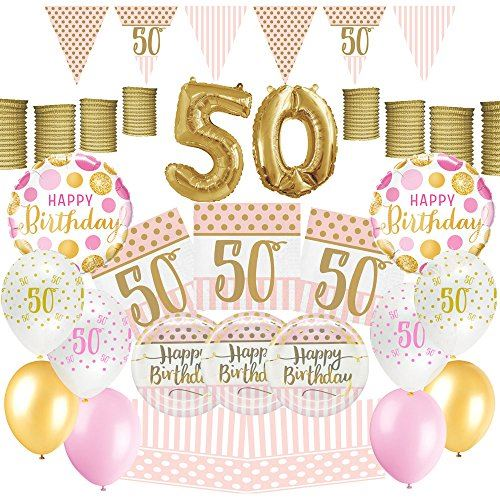 Partyparty Pink Chic Women Happy 50th Birthday Decoration