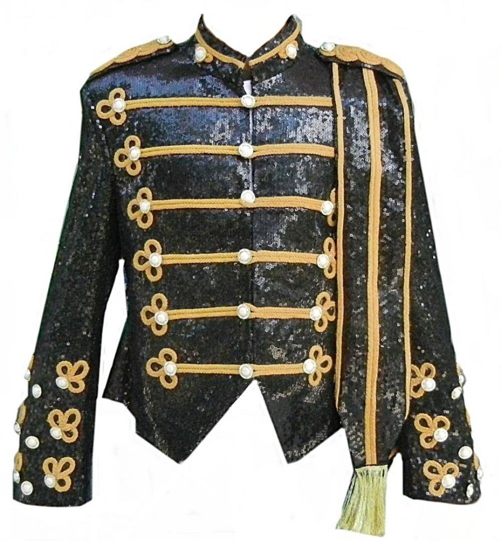 Celebrita X Military Fashion Jacket Black Sequin With Gold Style Ebay