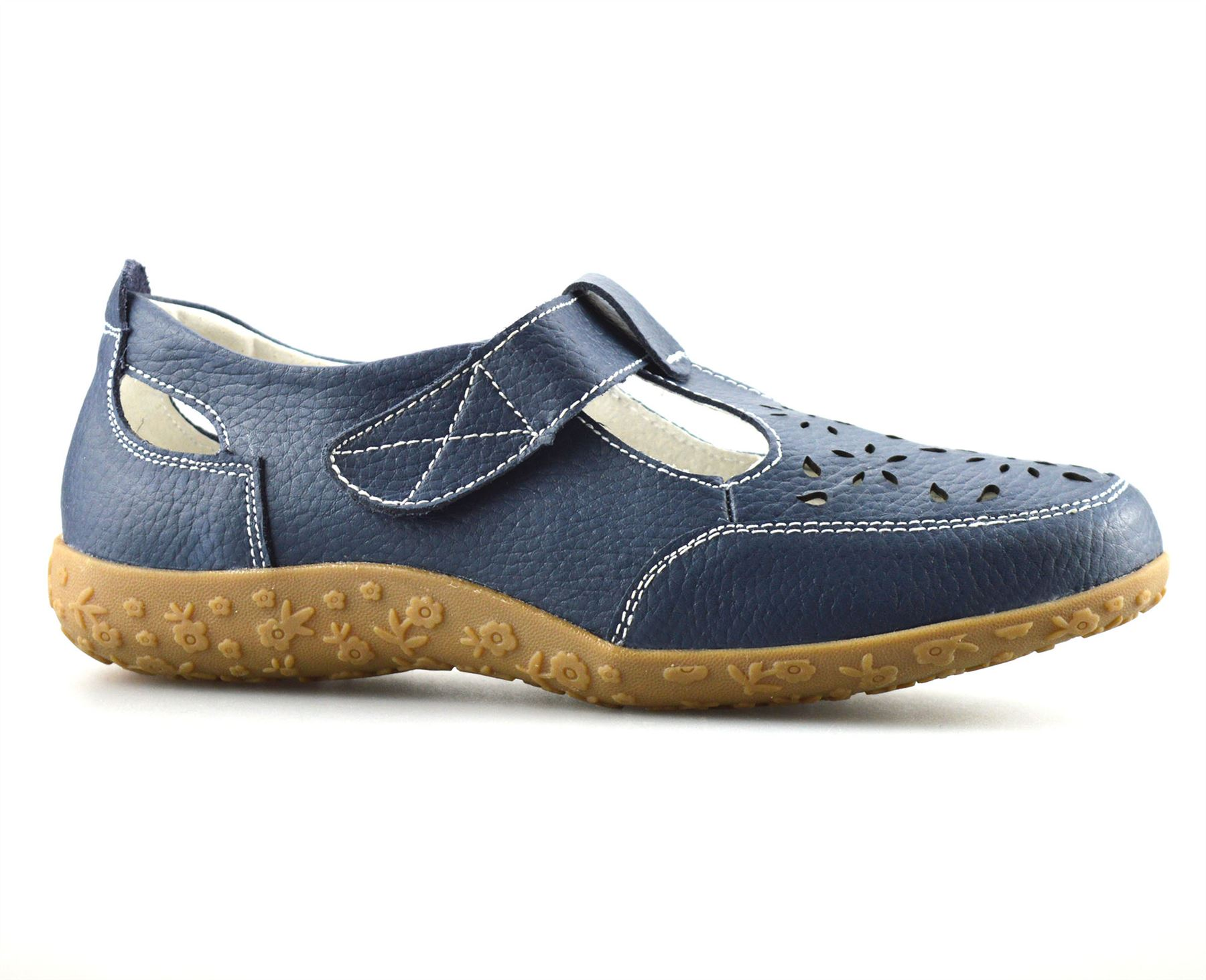 ladies womens casual flat leather wide fit comfort walking