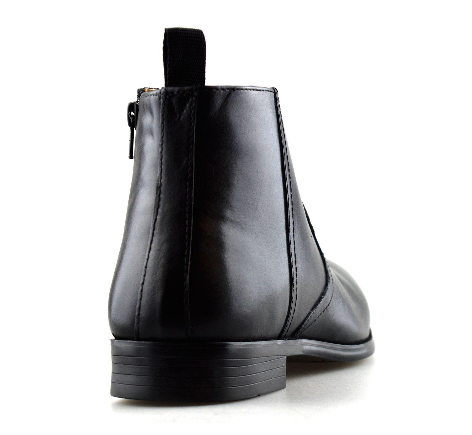 Hombre-Nuevo-Cuero-Cremallera-Formal-Smart-Trabajo-Distribuidor-Chelsea-Botas-al-Tobillo-Zapatos miniatura 13