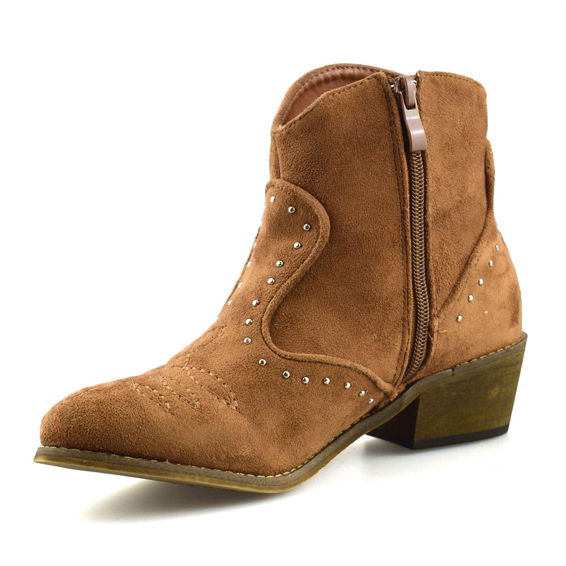 Ladies-Womens-Suede-Mid-Block-Heel-Zip-Up-Ankle-Cowboy-Biker-Boots-Shoes-Size thumbnail 19