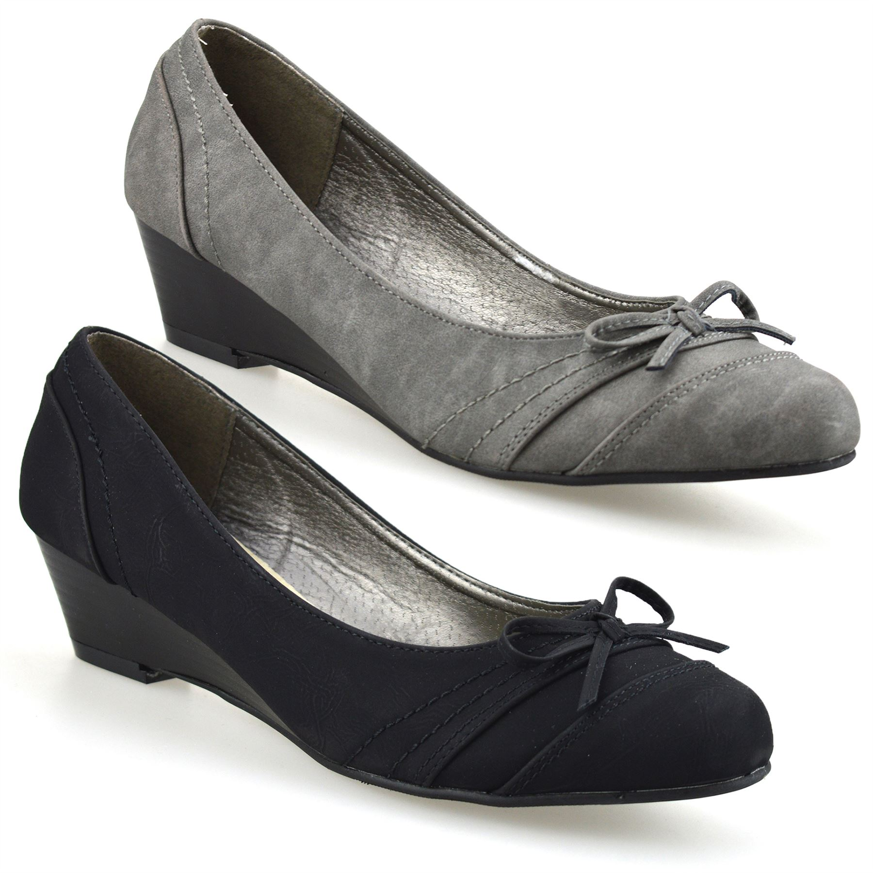 Ladies Womens Mid Low Wedge Heel Casual Smart Work Pumps Party Court Shoes Size