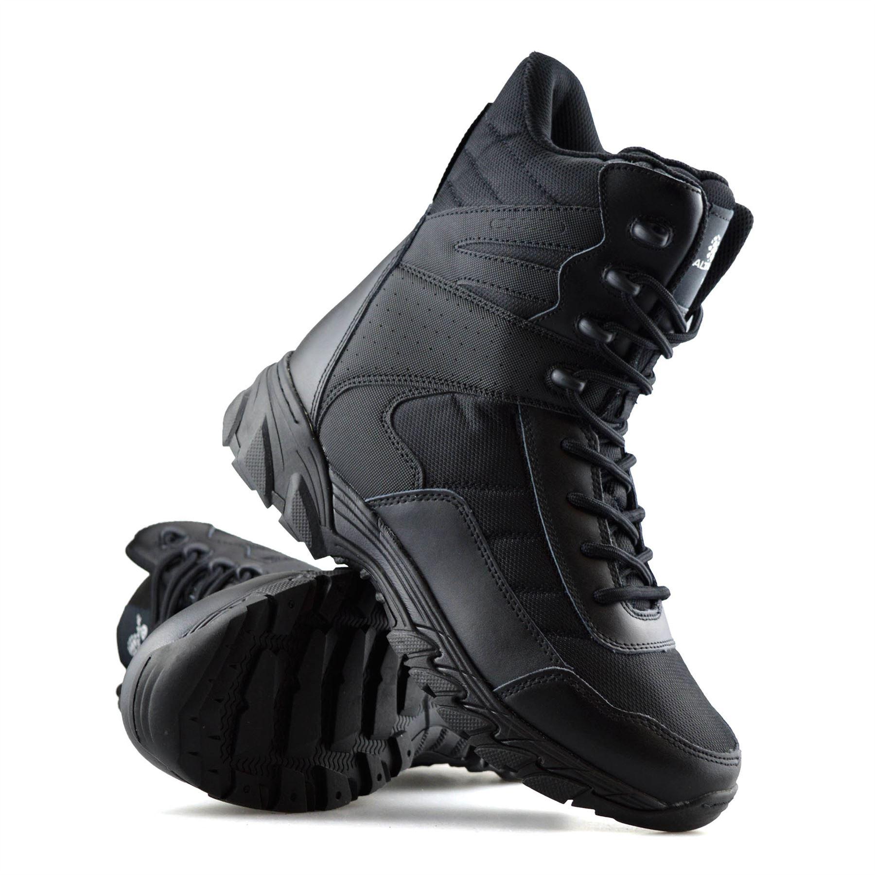 Homme-en-cuir-neuve-Militaire-Armee-Combat-Marche-Travail-Fermeture-Eclair-Cheville-Bottes miniature 14