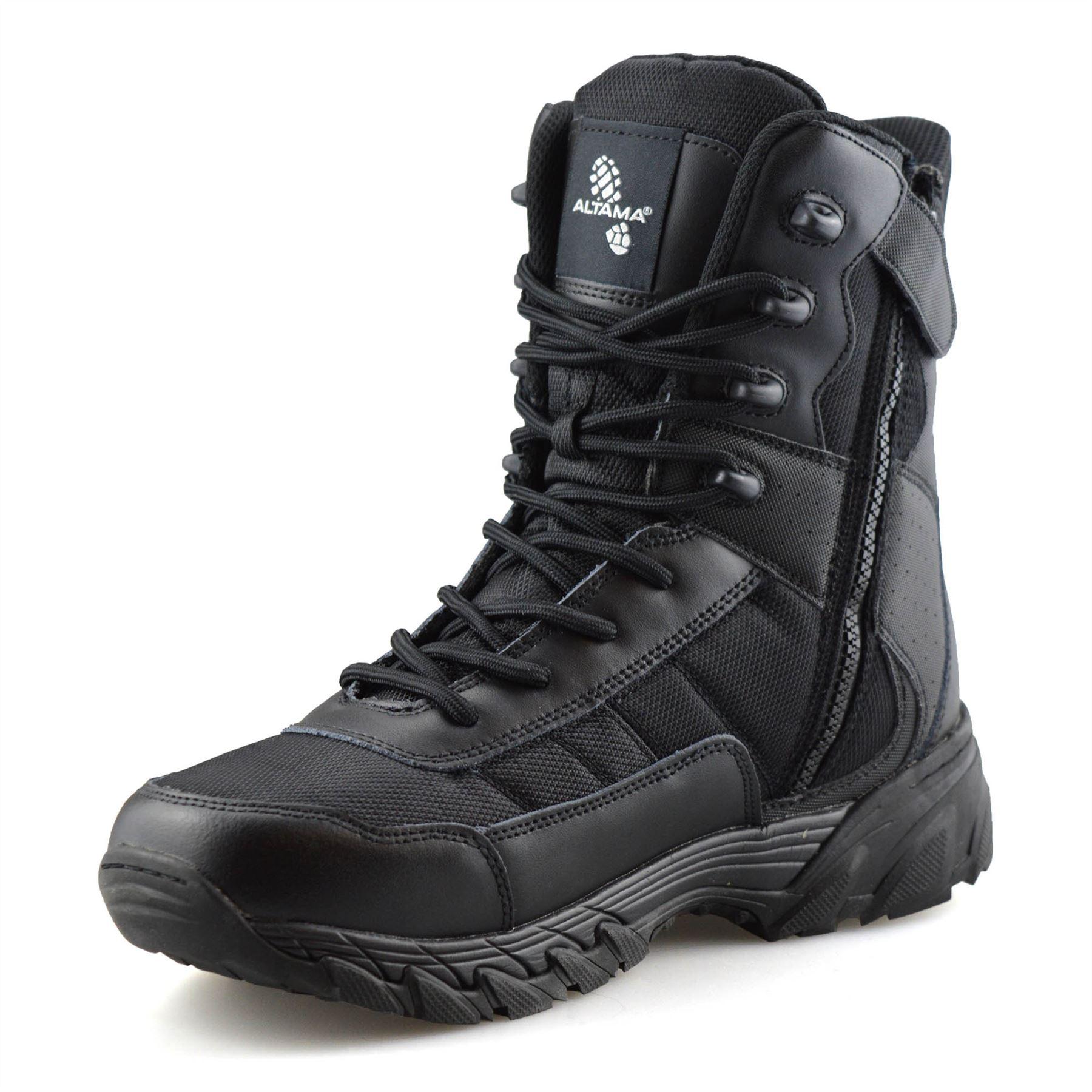 Homme-en-cuir-neuve-Militaire-Armee-Combat-Marche-Travail-Fermeture-Eclair-Cheville-Bottes miniature 12