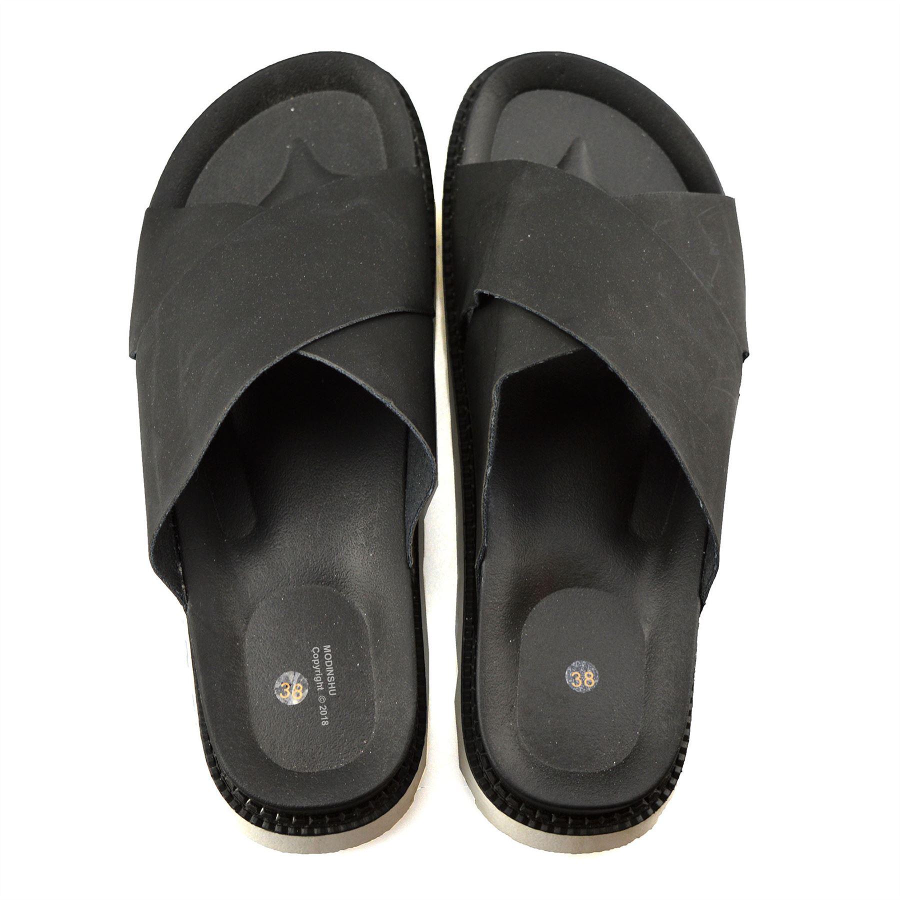 Ladies-Womens-Low-Flat-Heel-Slip-On-Summer-Beach-Mules-Footbed-Sandals-Shoe-Size