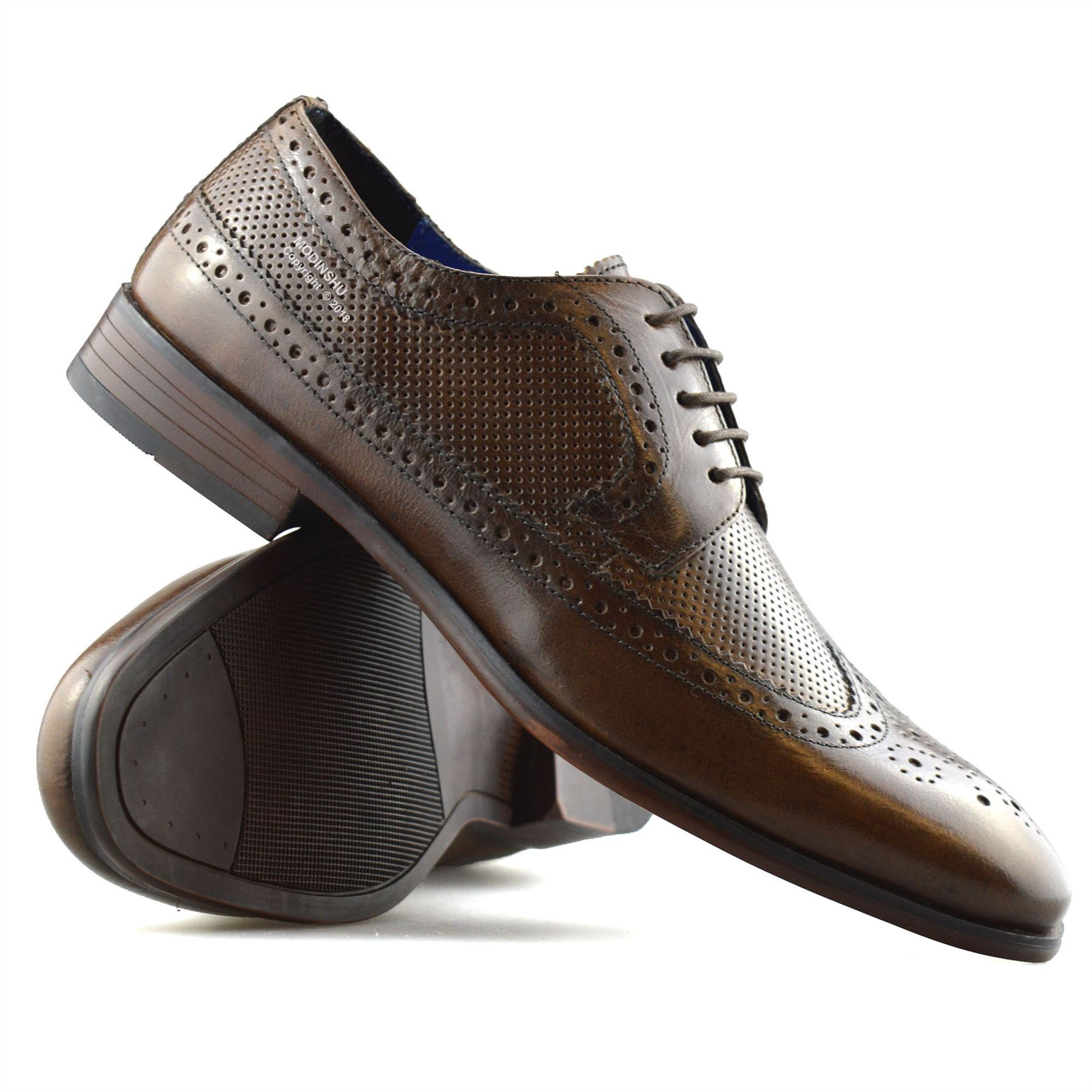 Mens-Leather-Brogues-Smart-Casual-Formal-Office-Lace-Up-Oxford-Brogue-Shoes-Size thumbnail 24