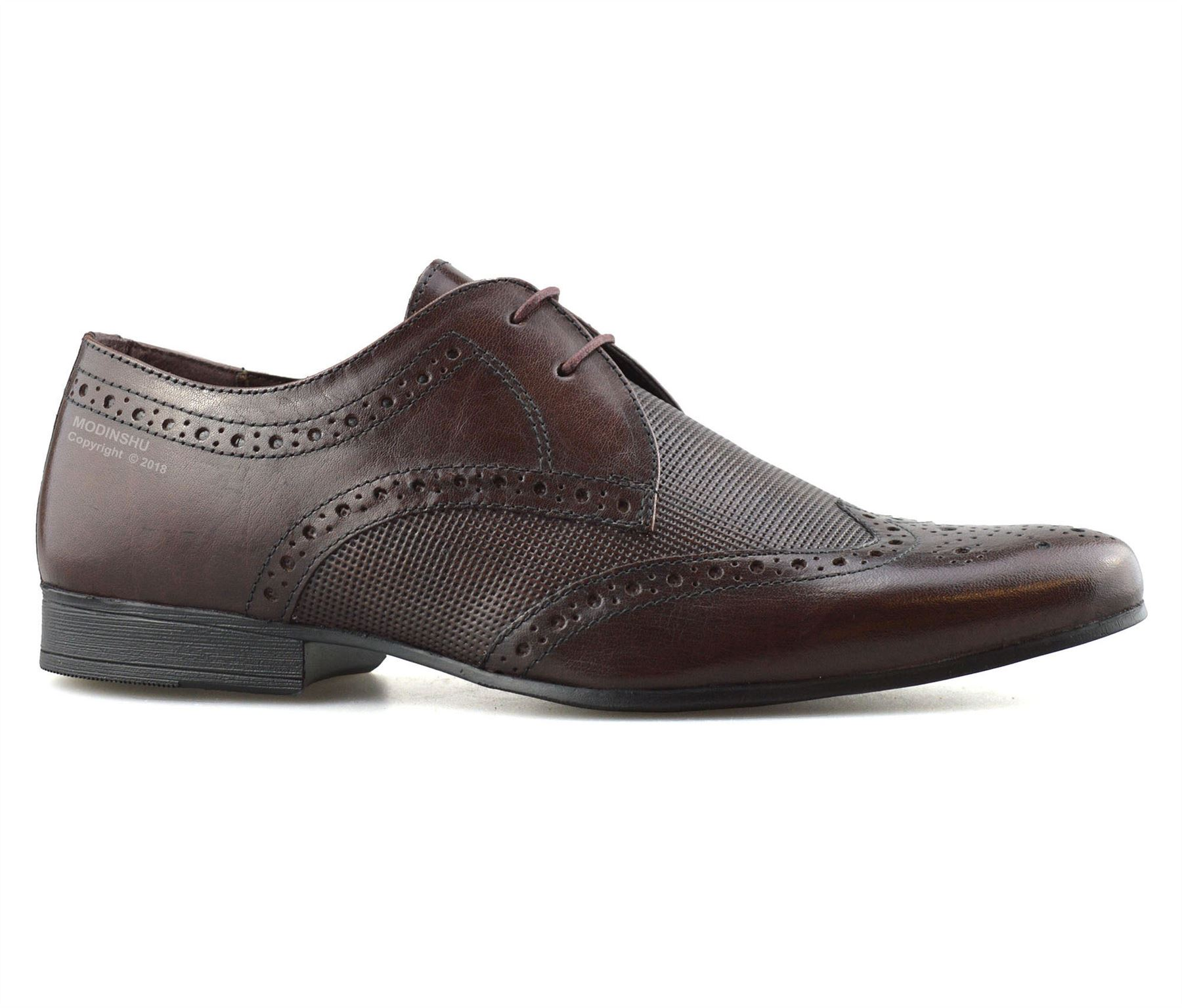 Mens-Leather-Lace-Up-Brogues-Smart-Formal-Office-Casual-Oxford-Brogue-Shoes-Size thumbnail 10