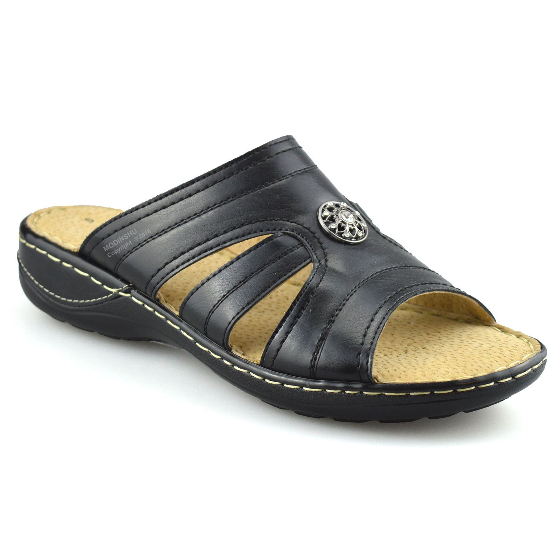 Ladies-Womens-Flat-Wedge-Heel-Wide-Fit-Slip-On-Summer-Mules-Sandals-Shoes-Size
