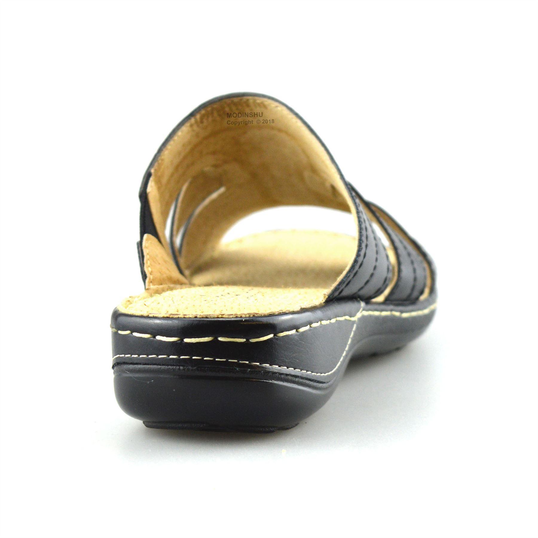 34bbdee34a6 Ladies Womens Flat Wedge Heel Wide Fit Slip On Summer Mules Sandals ...