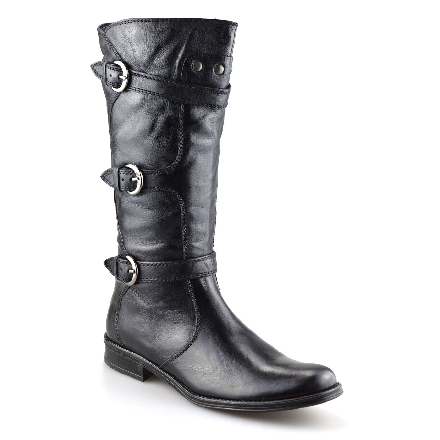 408e2abb460 Details about Ladies Womens Leather Mid Calf Low Flat Heel Zip Up Biker  Riding Boots Shoe Size