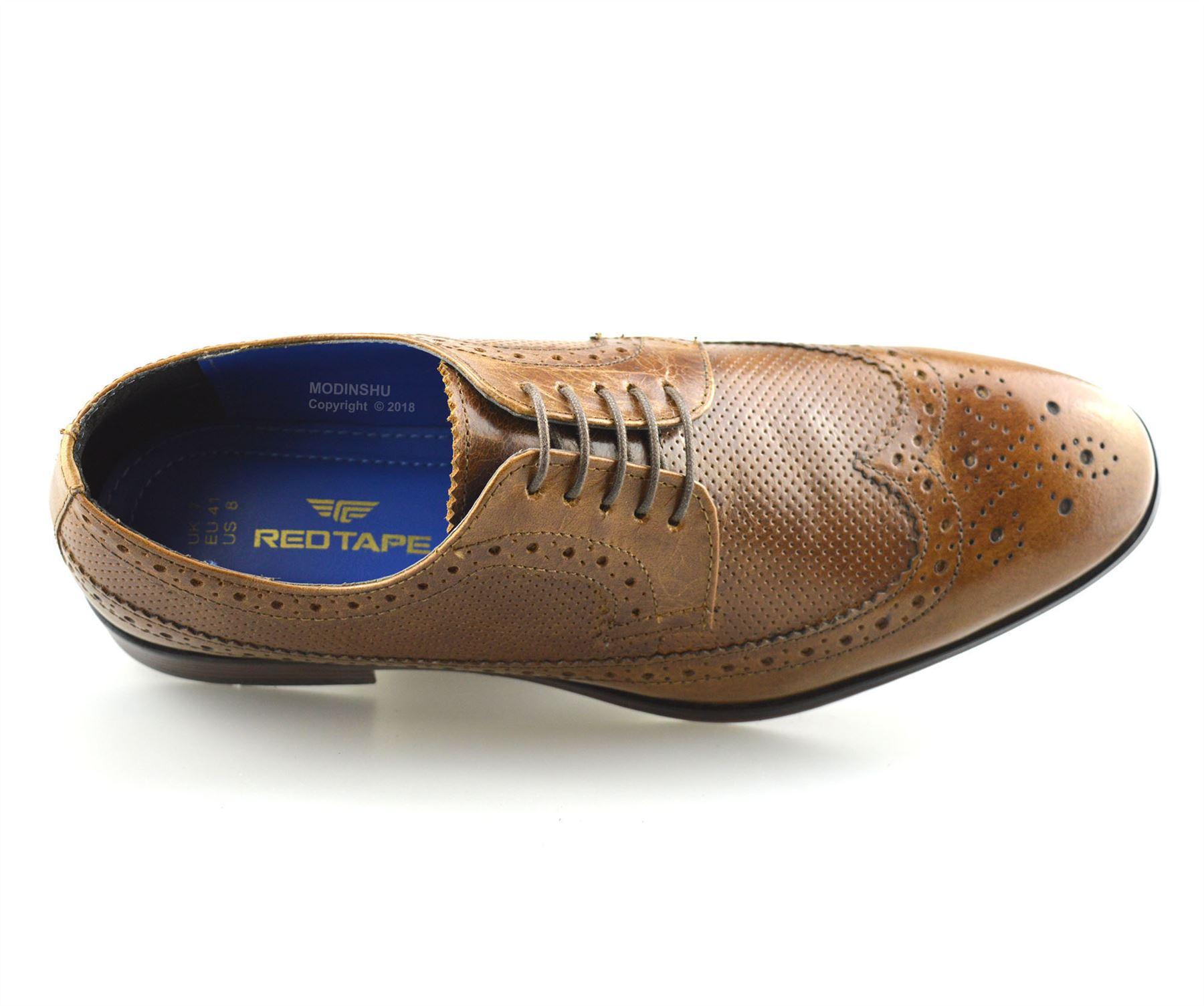 Mens-Leather-Brogues-Smart-Casual-Formal-Office-Lace-Up-Oxford-Brogue-Shoes-Size thumbnail 15