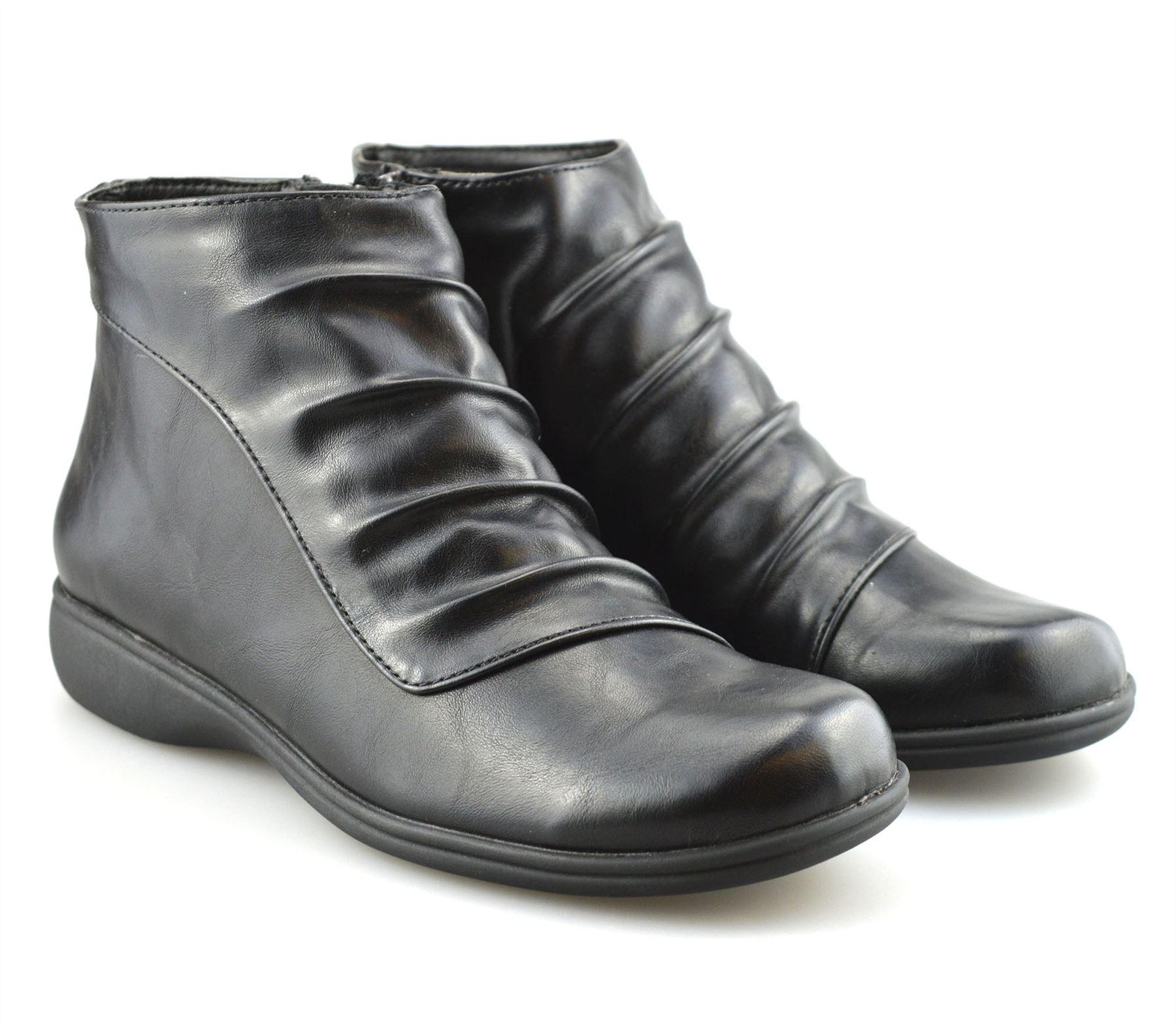 4c1d5c50fcd84 Ladies Womens Low Flat Heel Smart Casual Zip Up Ankle Boots Booties ...