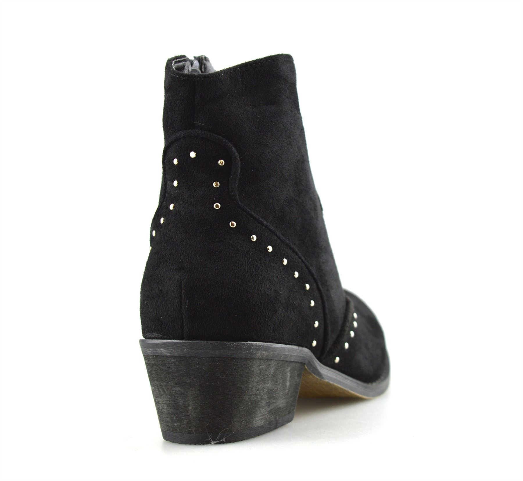 Ladies-Womens-Suede-Mid-Block-Heel-Zip-Up-Ankle-Cowboy-Biker-Boots-Shoes-Size thumbnail 15