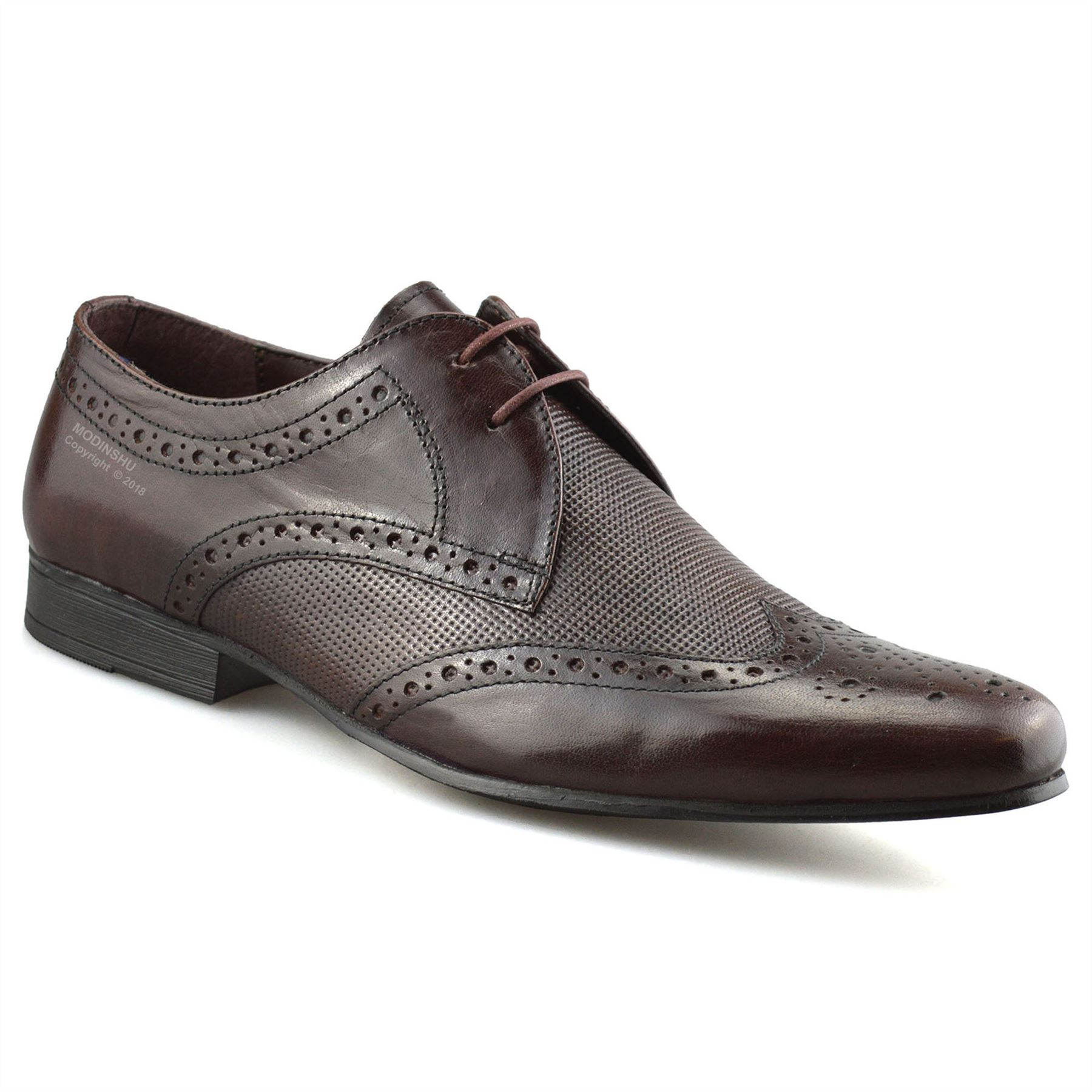Mens-Leather-Lace-Up-Brogues-Smart-Formal-Office-Casual-Oxford-Brogue-Shoes-Size thumbnail 9