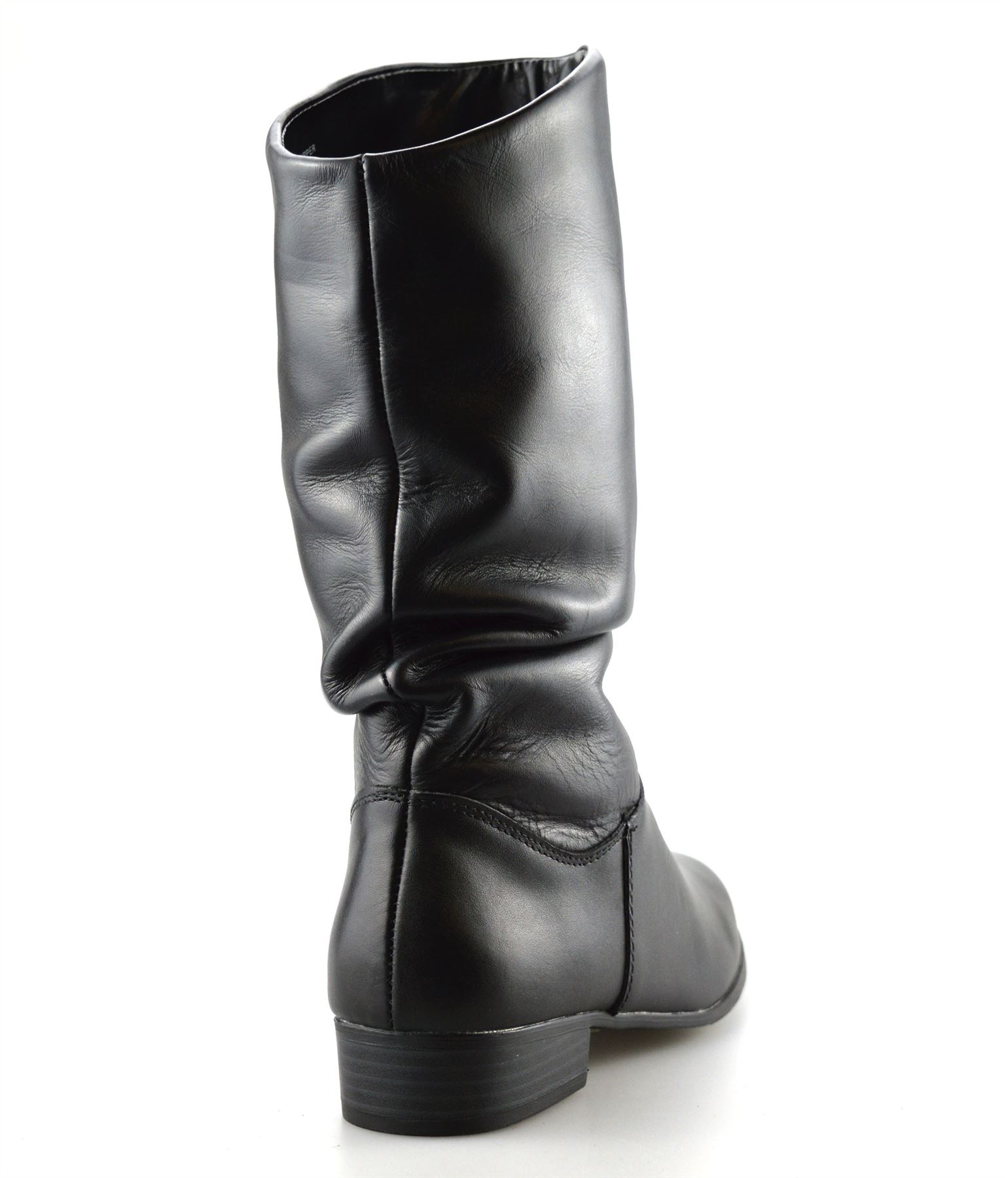 9045cde13ce8 Ladies Womens New Leather Mid Calf Low Flat Heel Slouch Riding Boots ...