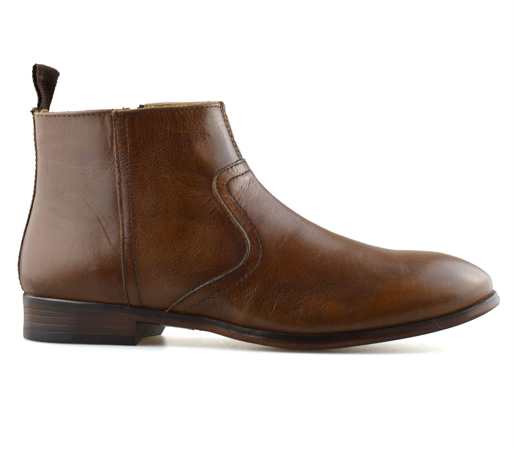 Hombre-Nuevo-Cuero-Cremallera-Formal-Smart-Trabajo-Distribuidor-Chelsea-Botas-al-Tobillo-Zapatos miniatura 18