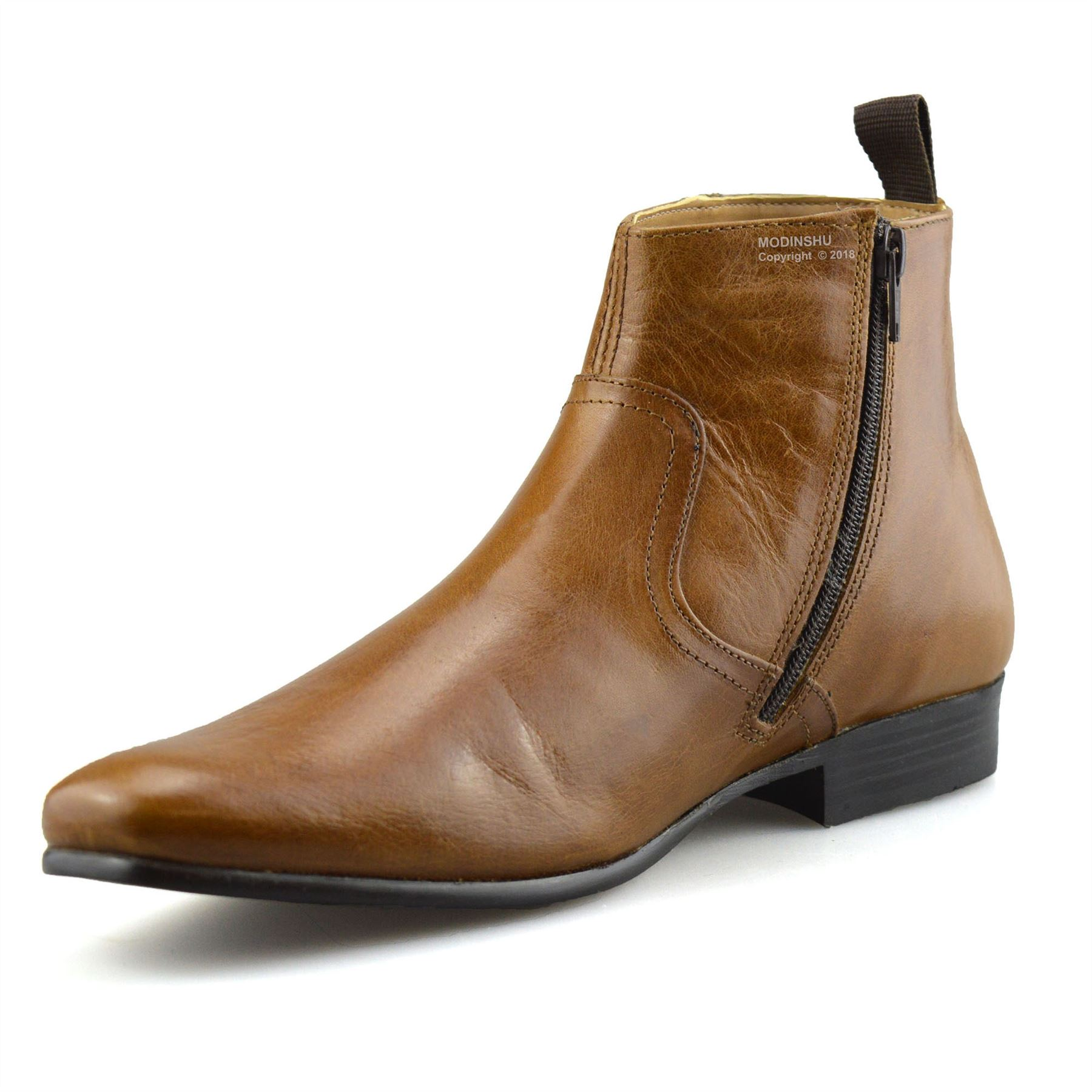 Mens-New-Leather-Zip-Up-Smart-Formal-Chelsea-Dealer-Work-Ankle-Boots-Shoes-Size thumbnail 25