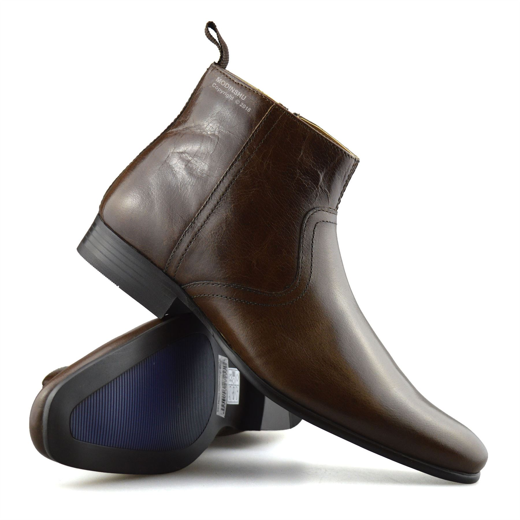 Mens-New-Leather-Zip-Up-Smart-Formal-Chelsea-Dealer-Work-Ankle-Boots-Shoes-Size thumbnail 21