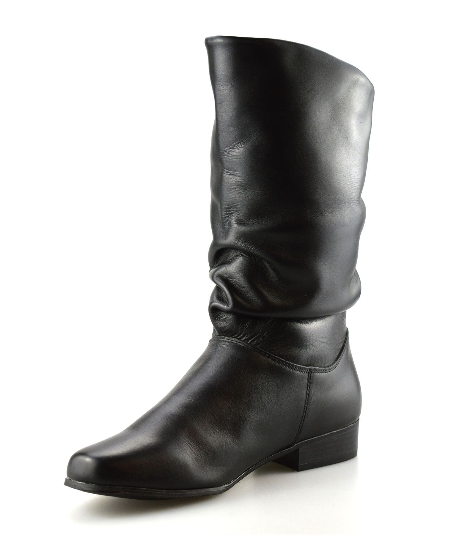7e1f40411822 Ladies Womens New Leather Mid Calf Low Flat Heel Slouch Riding Boots ...