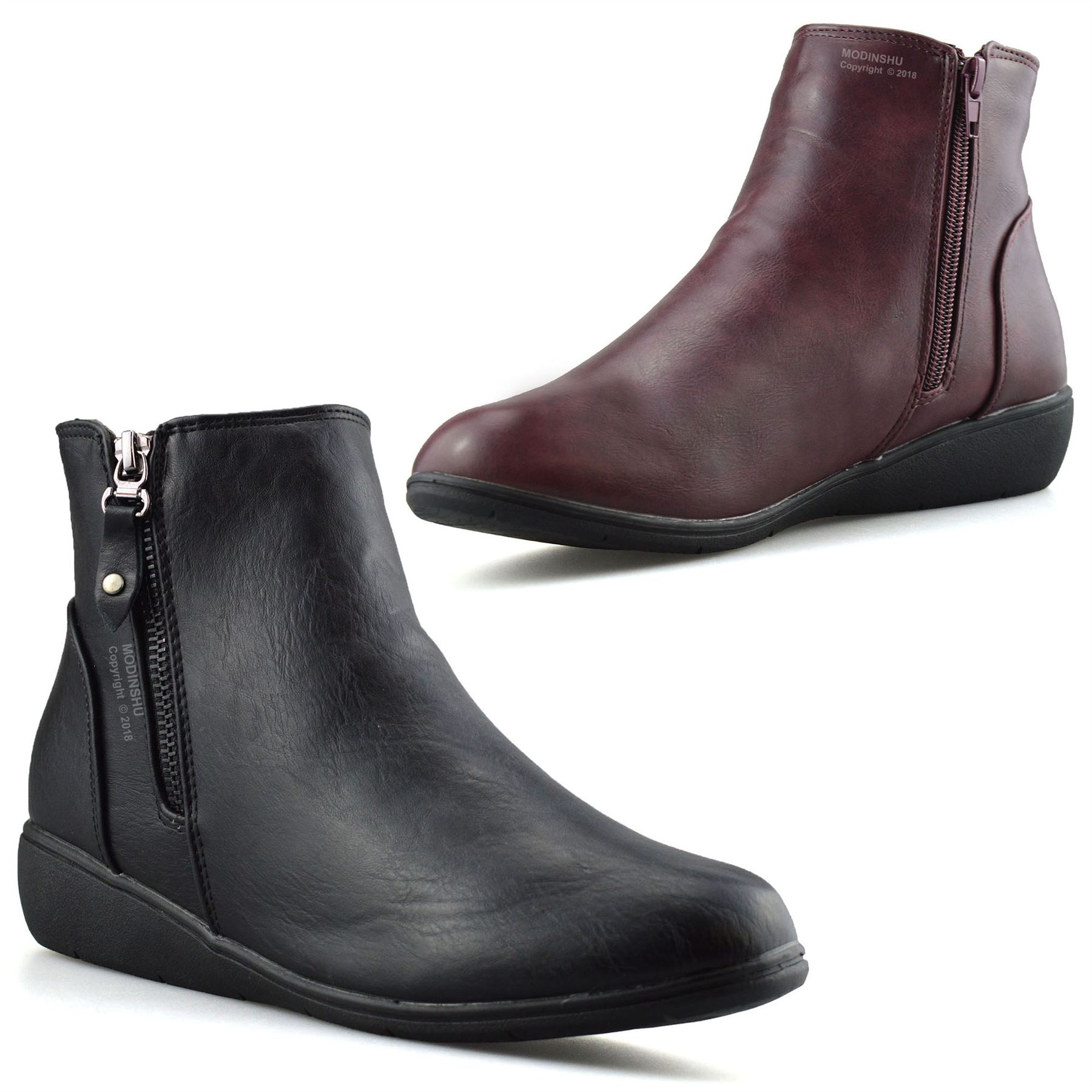 399f09efe05 Details about Ladies Womens Mid Wedge Heel Warm Fur Lined Zip Up Winter Ankle  Boots Shoes Size