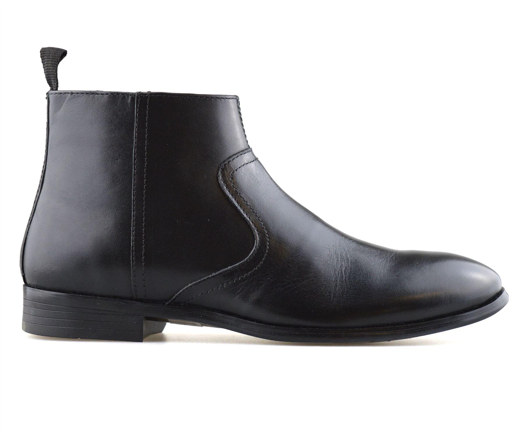 Hombre-Nuevo-Cuero-Cremallera-Formal-Smart-Trabajo-Distribuidor-Chelsea-Botas-al-Tobillo-Zapatos miniatura 12