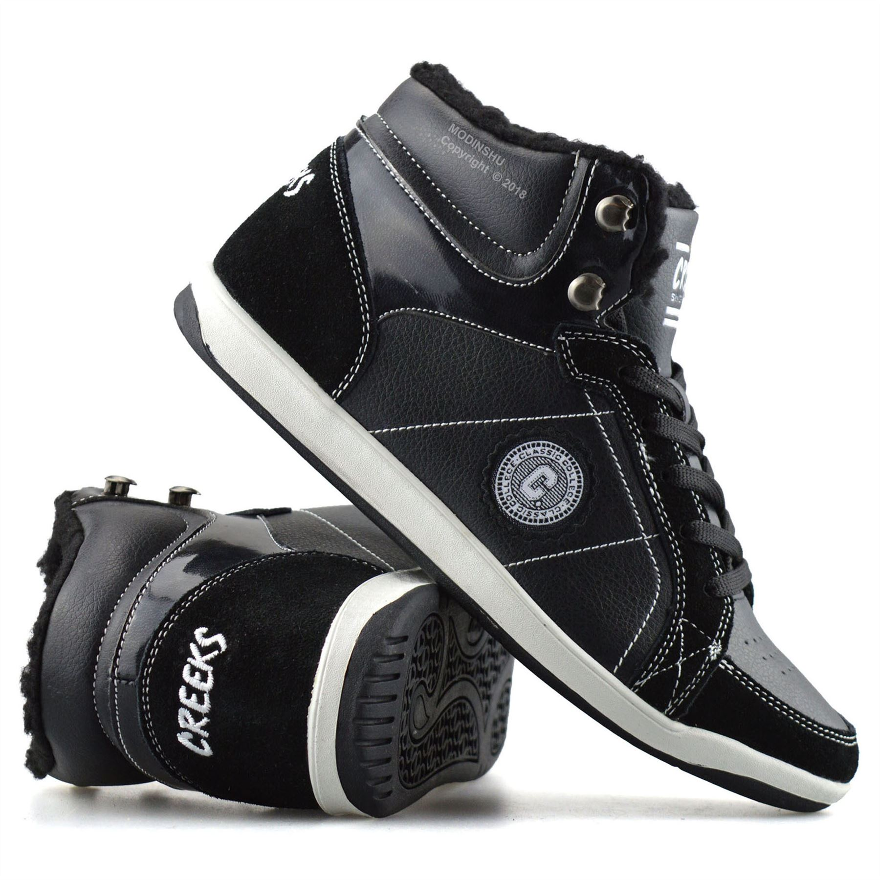 BOYS GIRLS WARM FLEECE LINED HIGH TOP SPORTS TRAINERS HI TOPS ANKLE BOOTS SHOES