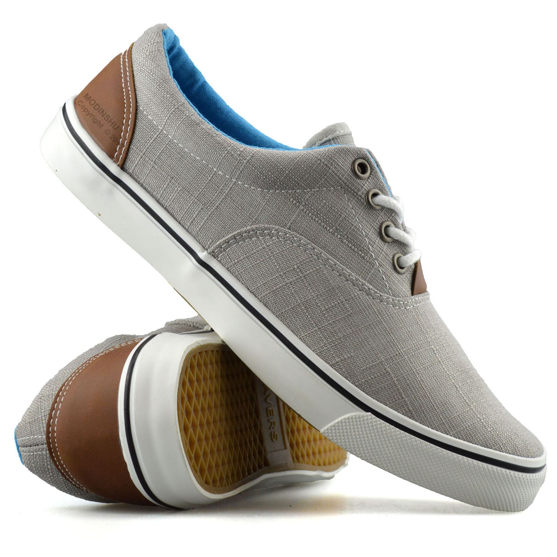 Mens Gents Casual Flat Lace Up Canvas Skate Pumps Plimsolls Trainers Shoes Size