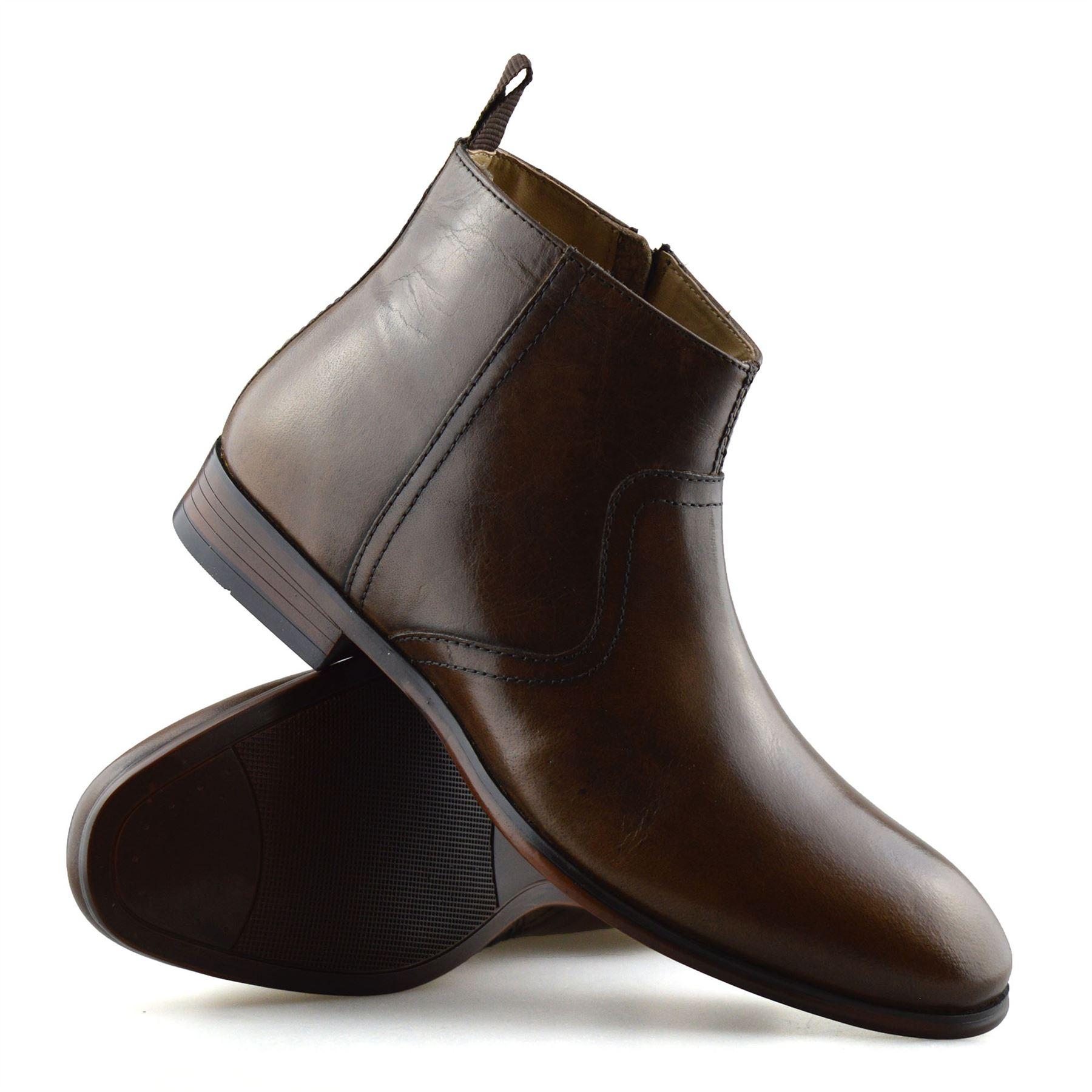 Hombre-Nuevo-Cuero-Cremallera-Formal-Smart-Trabajo-Distribuidor-Chelsea-Botas-al-Tobillo-Zapatos miniatura 27