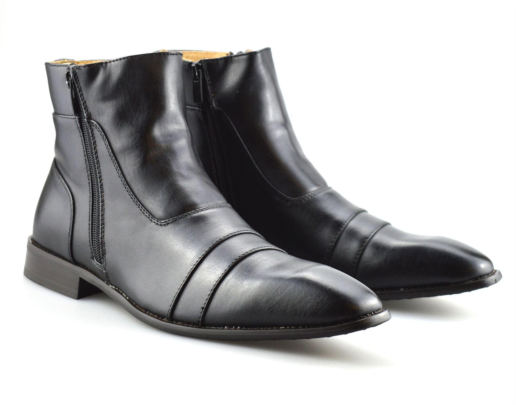 2b4d50ba4ef Mens New Leather Chelsea Dealer Work Formal Ankle Cowboy Biker Boots ...