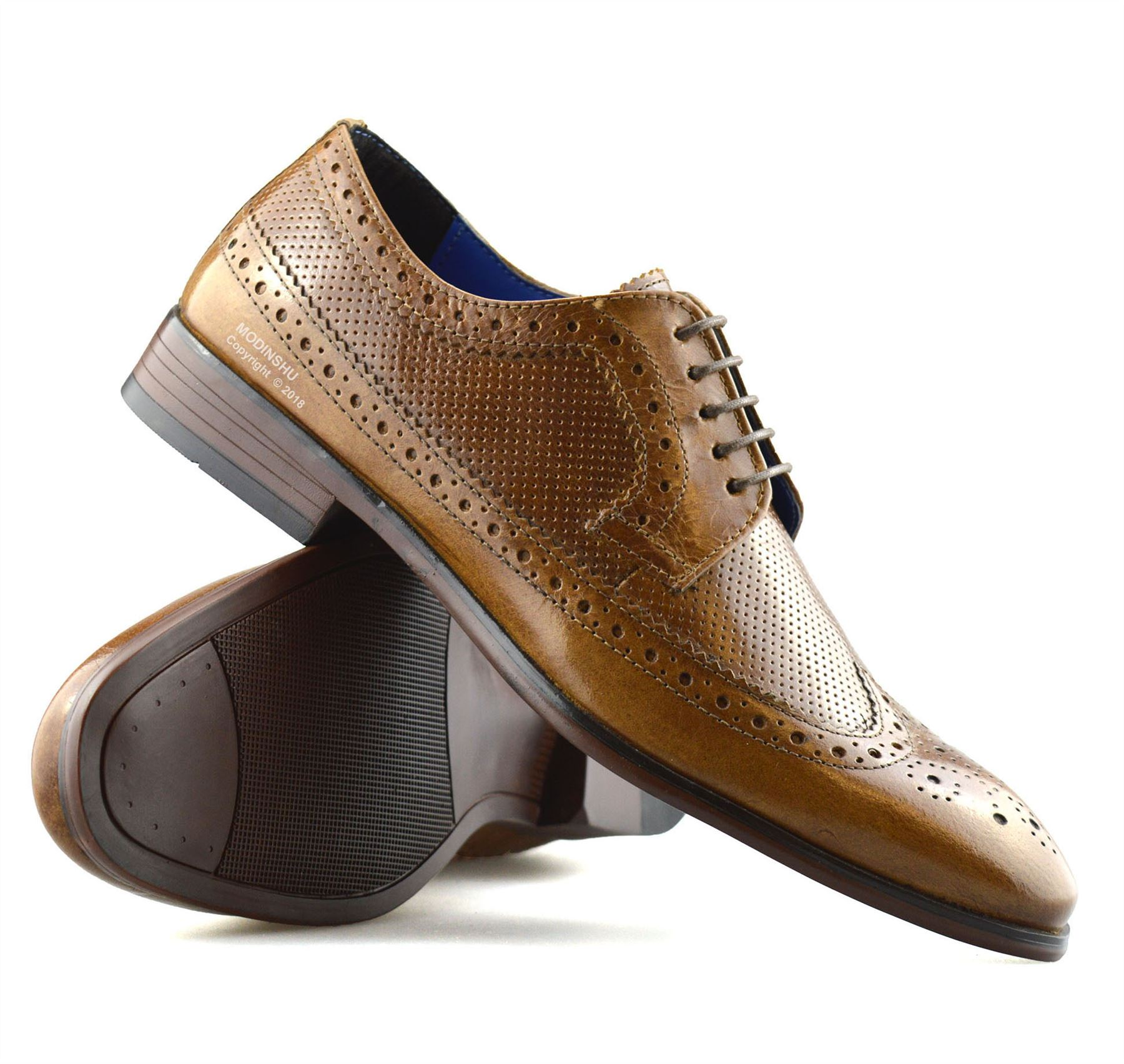 Mens-Leather-Brogues-Smart-Casual-Formal-Office-Lace-Up-Oxford-Brogue-Shoes-Size thumbnail 17