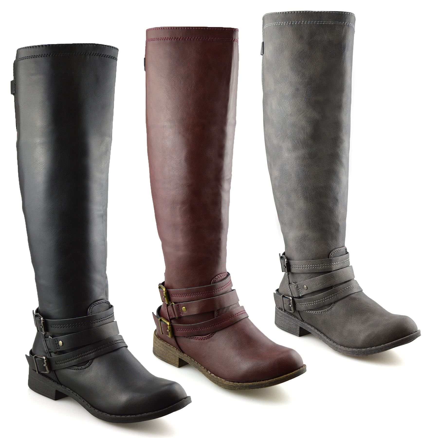 Ladies Womens Knee High Flat Heel Wide