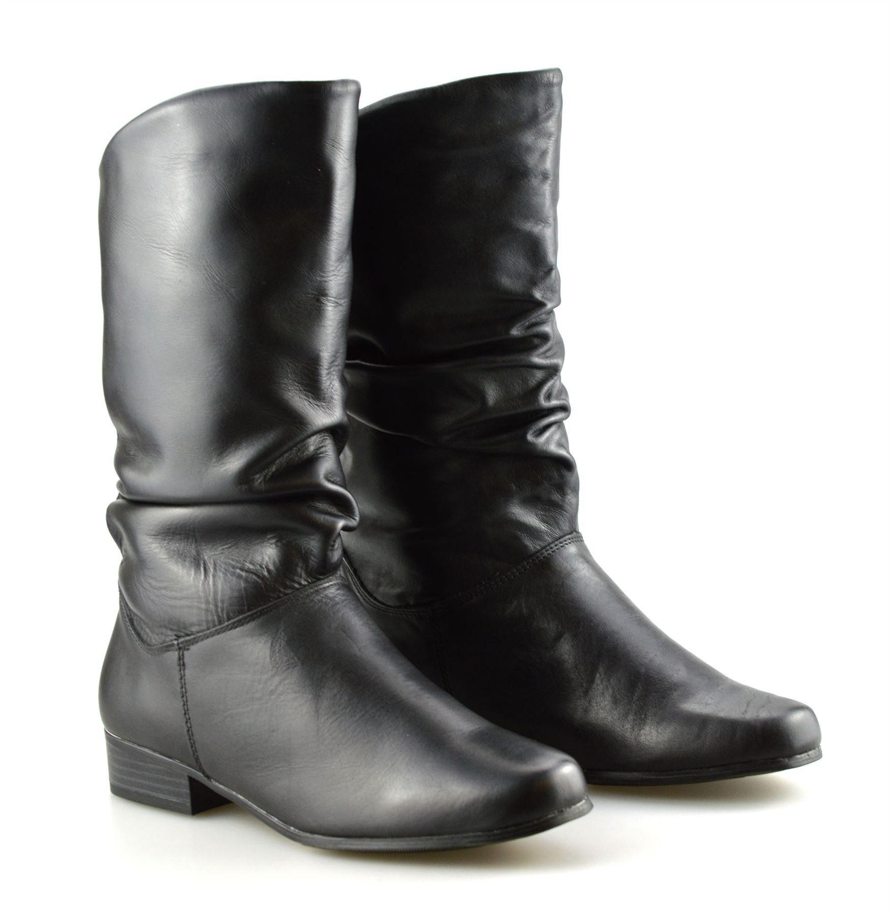 10af4b8907d Details about Ladies Womens New Leather Mid Calf Low Flat Heel Slouch  Riding Boots Shoes Size