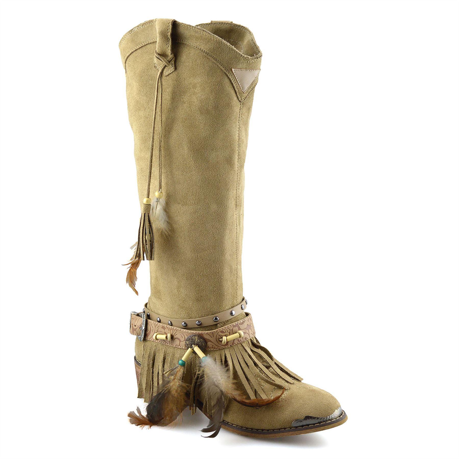 WOMANS Ladies Khaki Calf Biker Boots Shoes SIZE 5