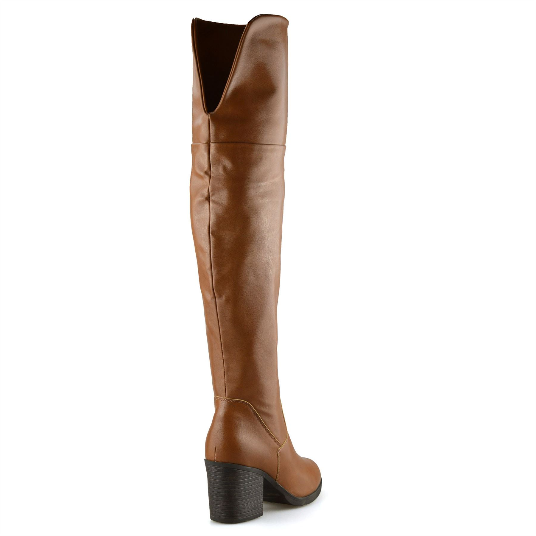 Ladies-Womens-Knee-High-Block-Heel-Zip-Up-Winter-Riding-Biker-Boots-Shoes-Size
