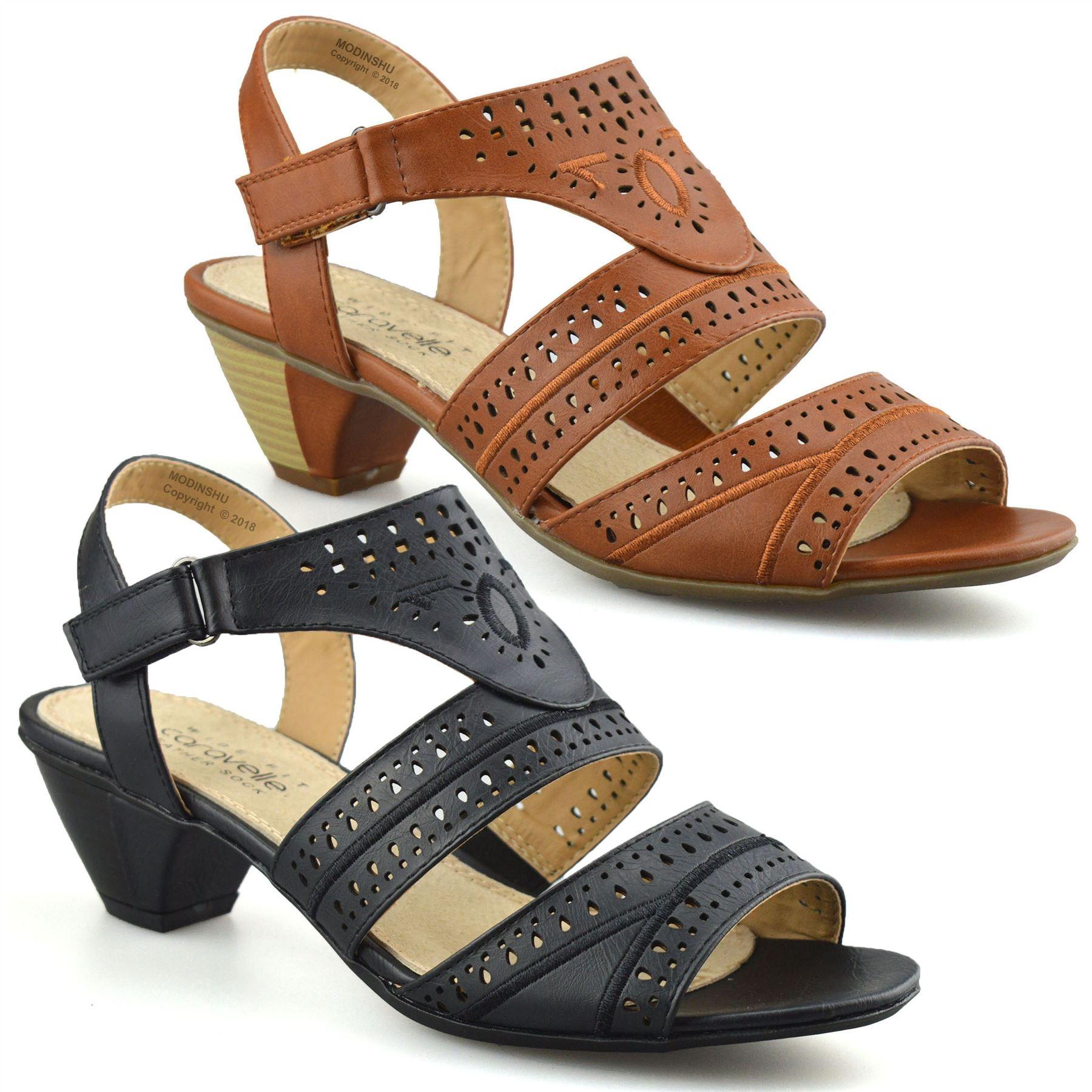 571ed8cca98c Ladies Womens Mid Wedge Heel Wide Fit Casual Comfort Walking Sandals Shoes