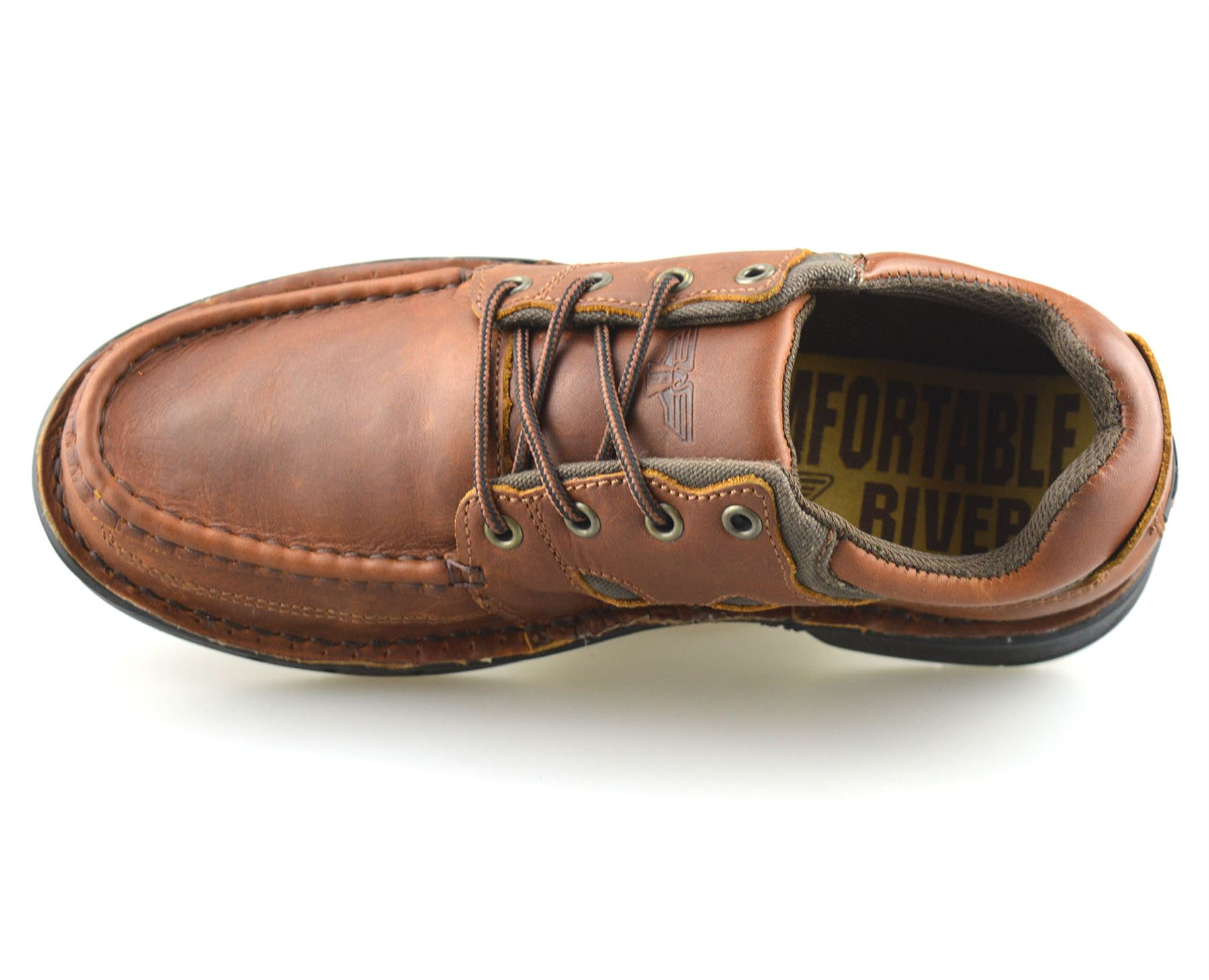 Mens-Leather-Casual-Smart-Lace-Up-Walking-Work-Moccasin-Driving-Boat-Shoes-Size thumbnail 12