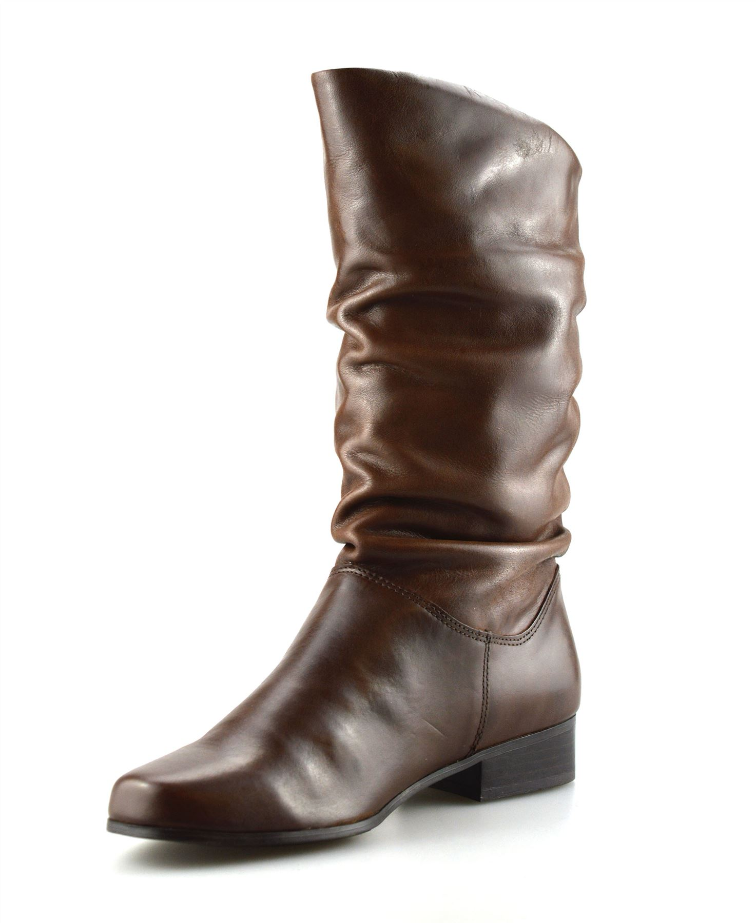 4158fe2928e97 Ladies Womens New Leather Mid Calf Low Flat Heel Slouch Riding Boots ...