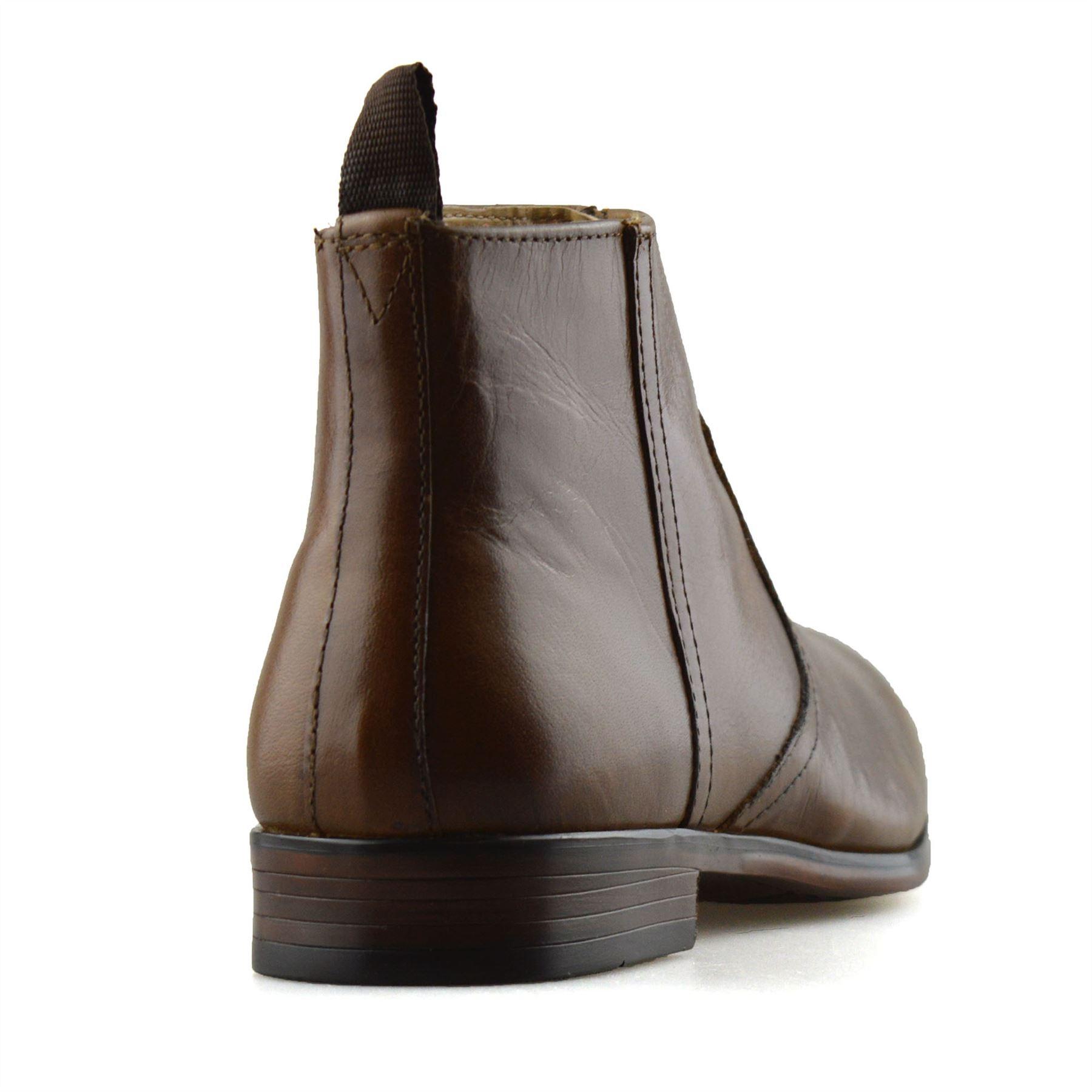 Hombre-Nuevo-Cuero-Cremallera-Formal-Smart-Trabajo-Distribuidor-Chelsea-Botas-al-Tobillo-Zapatos miniatura 19