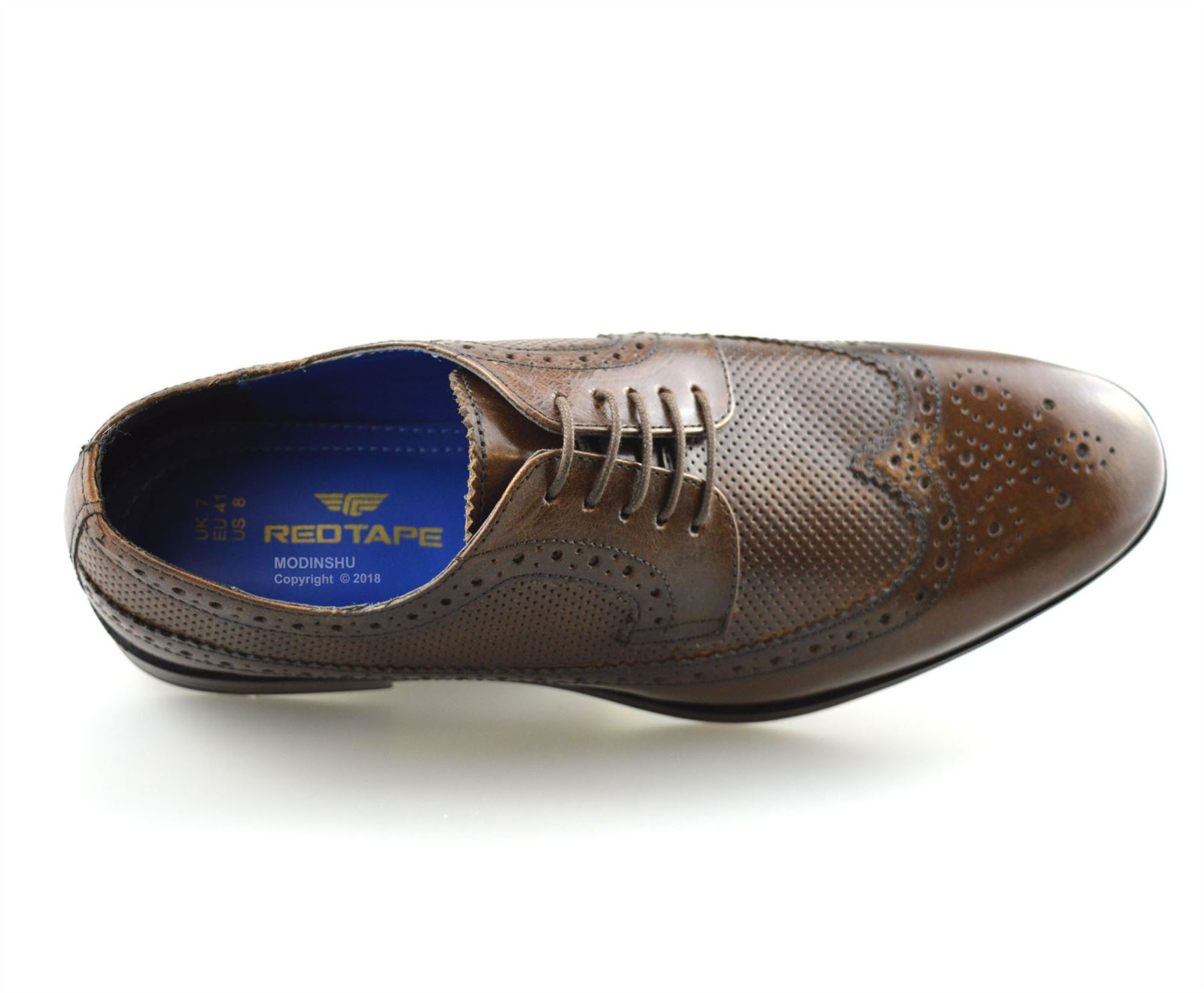 Mens-Leather-Brogues-Smart-Casual-Formal-Office-Lace-Up-Oxford-Brogue-Shoes-Size thumbnail 22