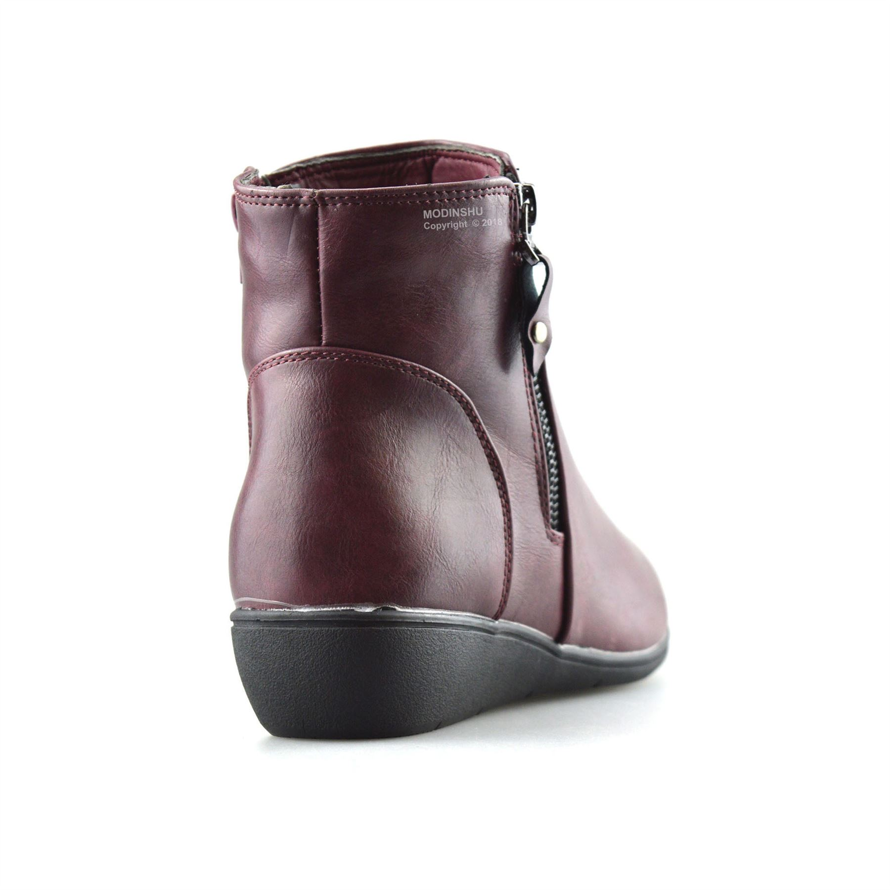 Ladies-Womens-Mid-Wedge-Heel-Warm-Fur-Lined-Zip-Up-Winter-Ankle-Boots-Shoes-Size