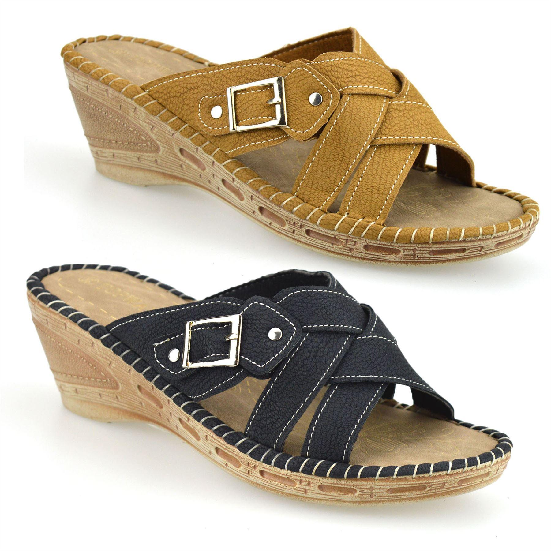 Ladies Womens New Mid Wedge Heel Casual Summer Slip On ...