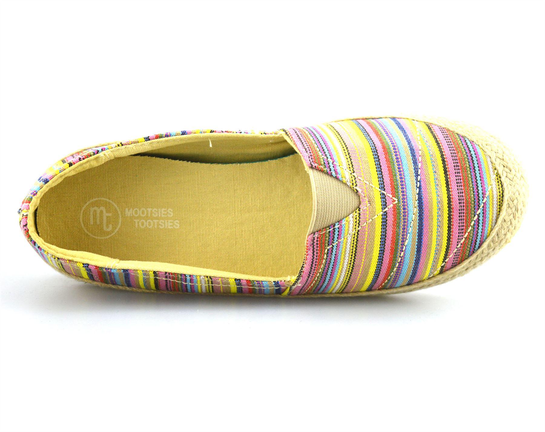 Ladies Womens Flat Slip On Canvas Pumps Plimsolls Trainers Espadrilles Shoe Size