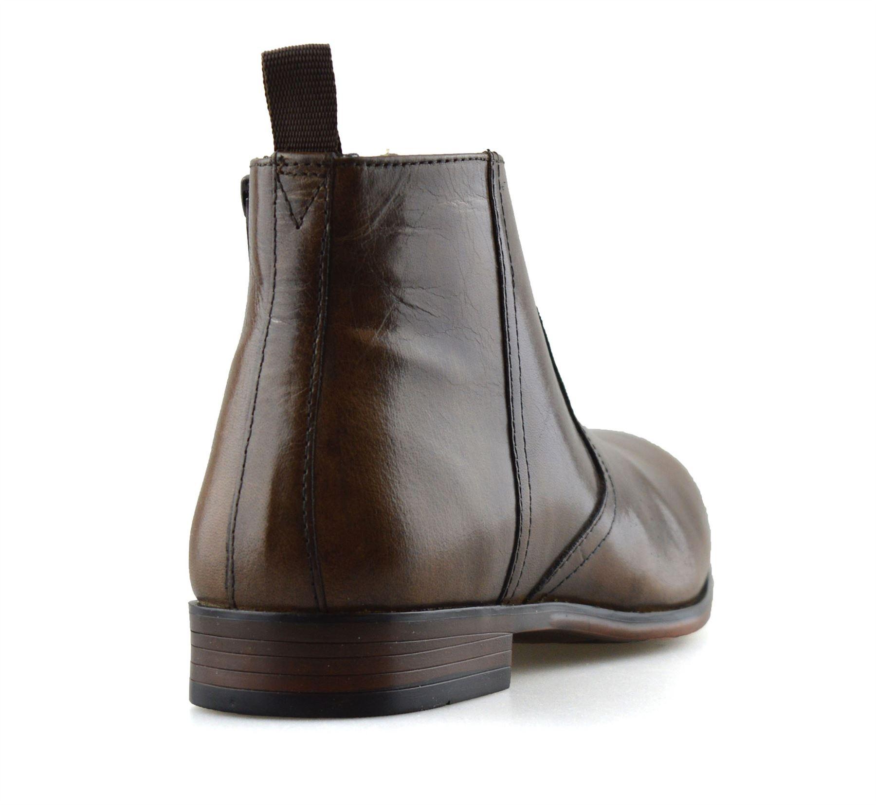 Hombre-Nuevo-Cuero-Cremallera-Formal-Smart-Trabajo-Distribuidor-Chelsea-Botas-al-Tobillo-Zapatos miniatura 25
