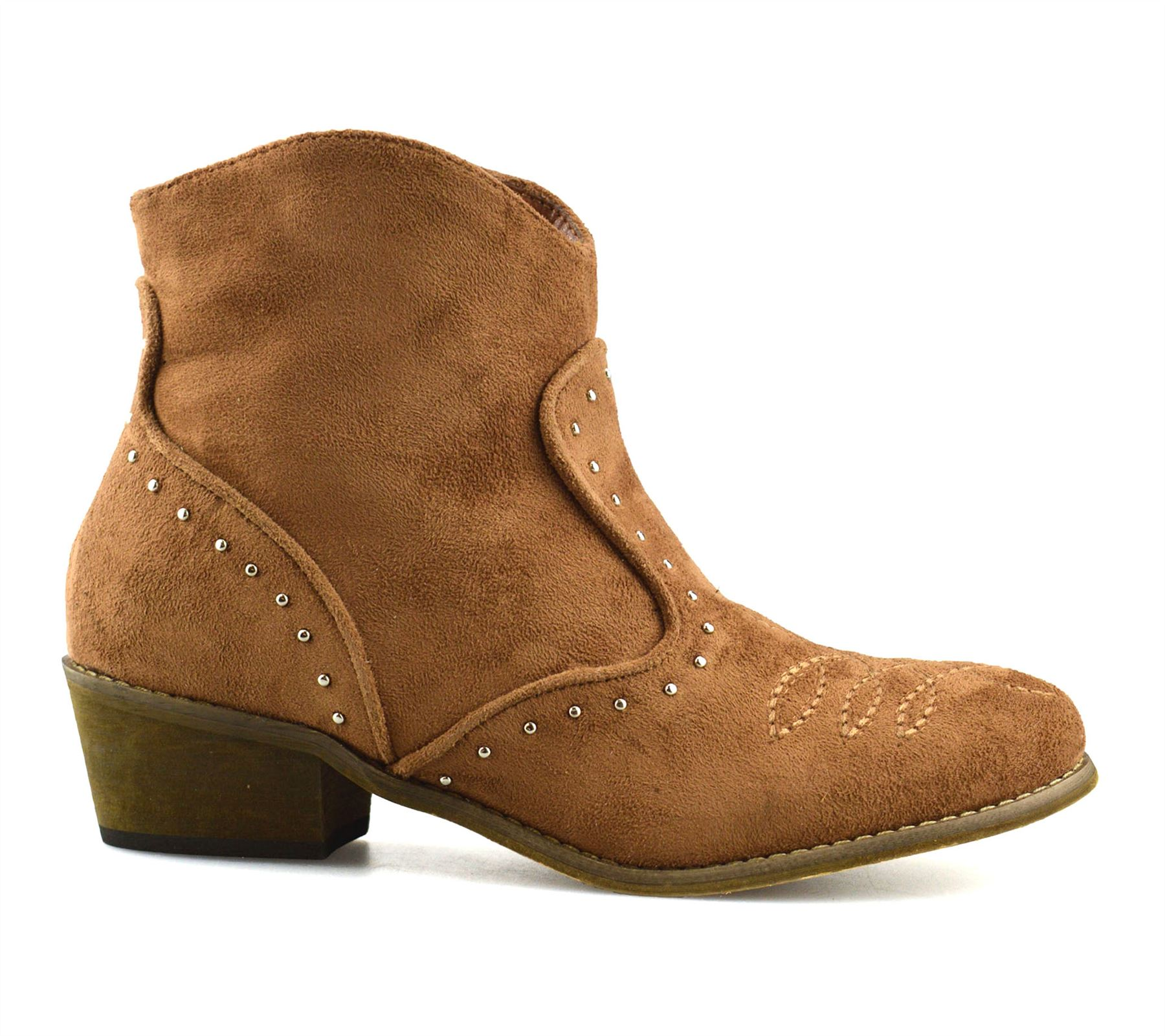Ladies-Womens-Suede-Mid-Block-Heel-Zip-Up-Ankle-Cowboy-Biker-Boots-Shoes-Size thumbnail 18