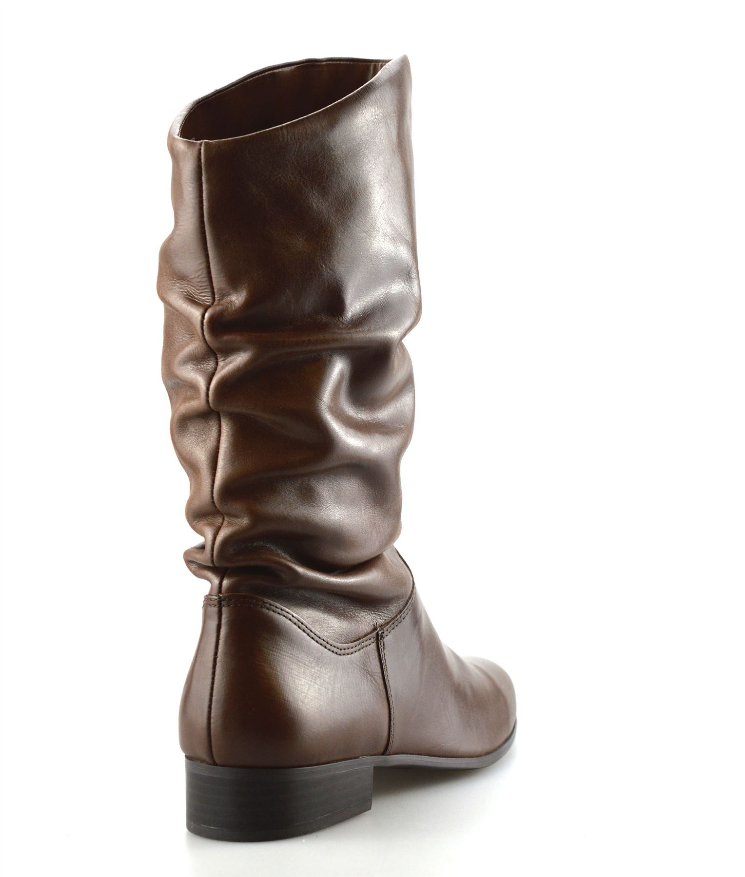 Ladies-Womens-New-Leather-Mid-Calf-Low-Flat-Heel-Slouch-Riding-Boots-Shoes-Size