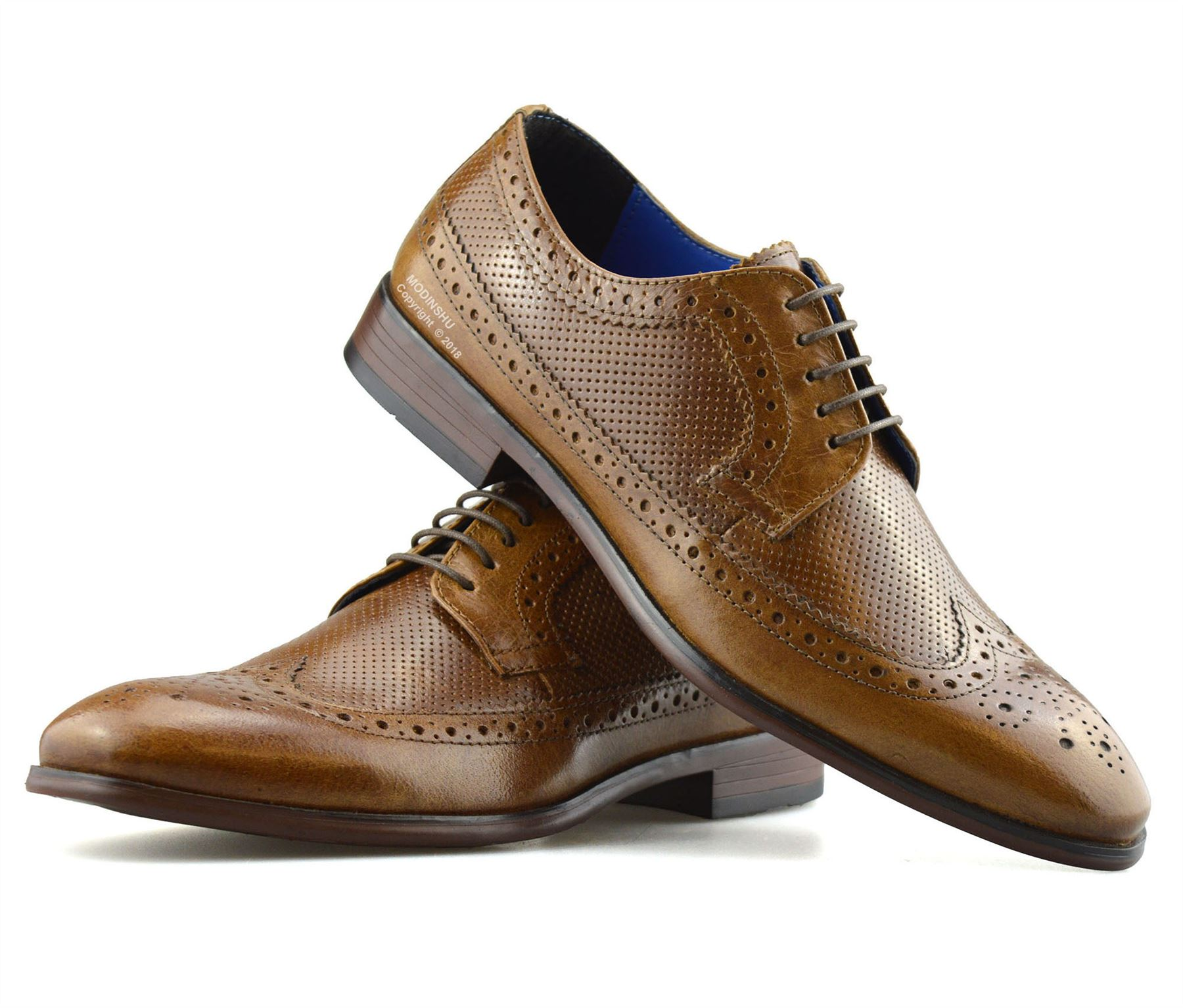 Mens-Leather-Brogues-Smart-Casual-Formal-Office-Lace-Up-Oxford-Brogue-Shoes-Size thumbnail 18