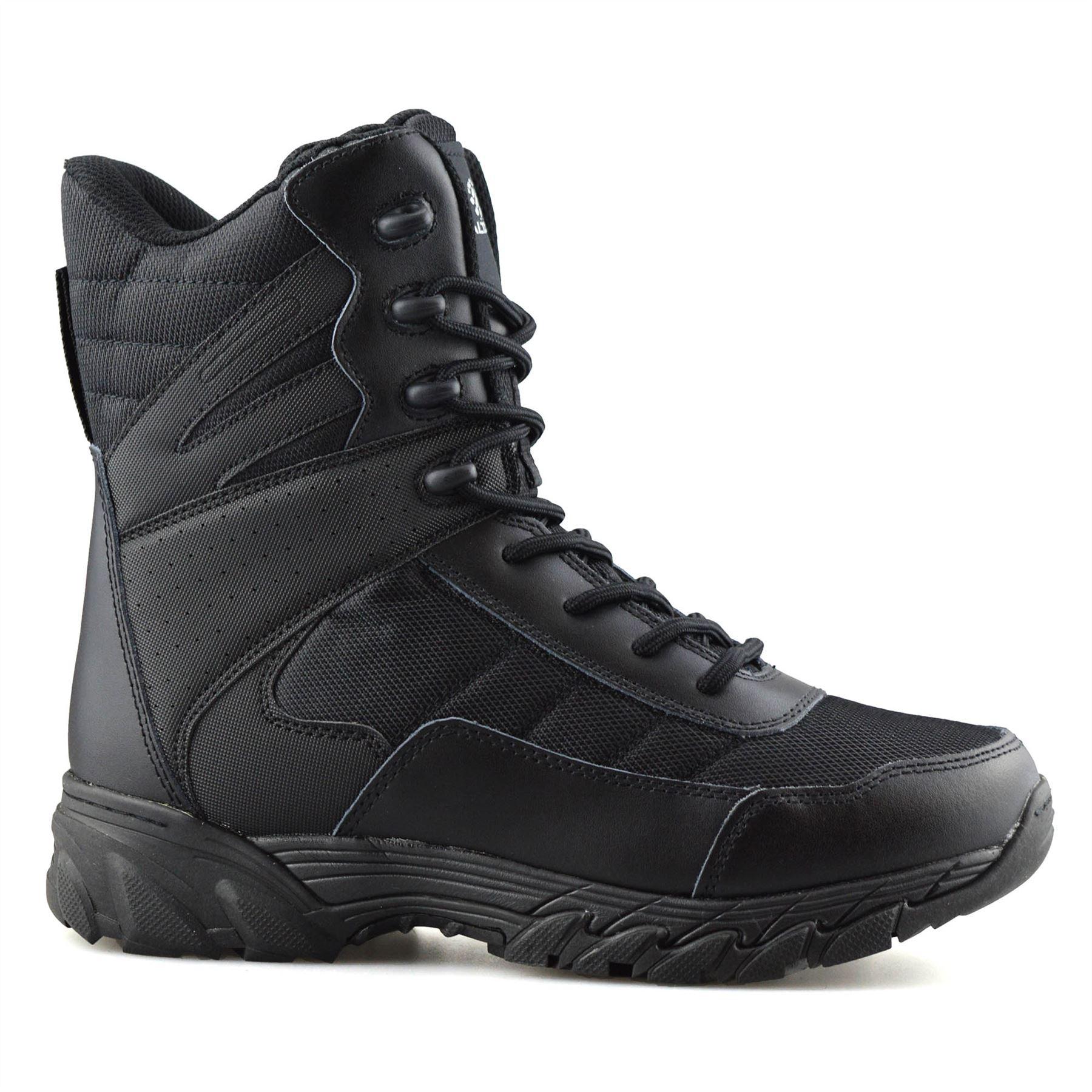 Homme-en-cuir-neuve-Militaire-Armee-Combat-Marche-Travail-Fermeture-Eclair-Cheville-Bottes miniature 10