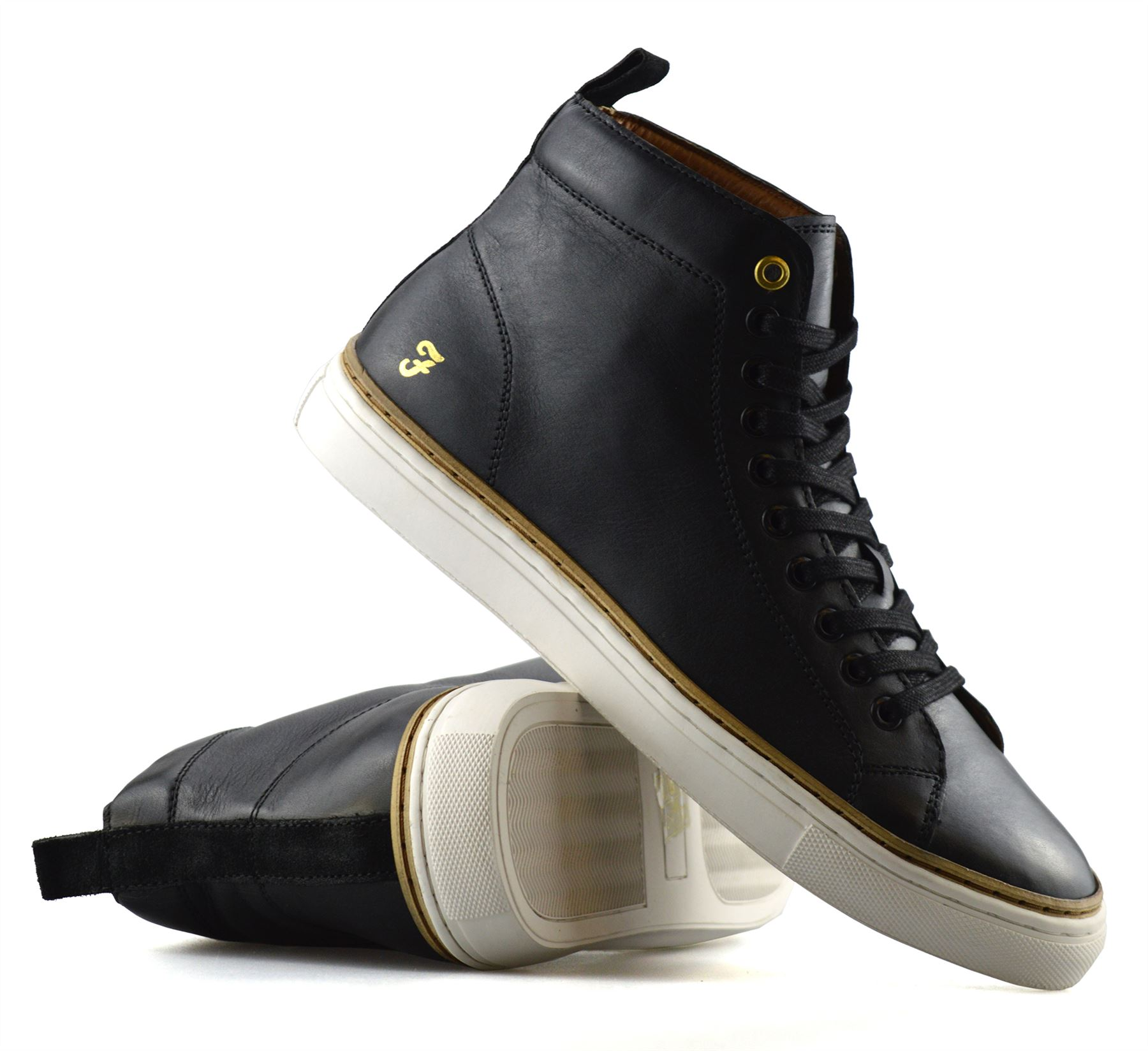 Mens-Farah-Berry-Designer-Leather-Hi-Top-Lace-